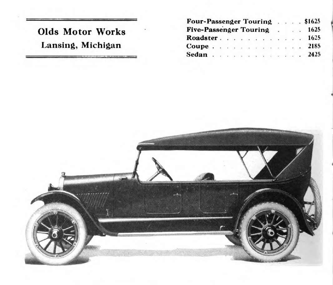 The Oldsmobile sedan from the 1922 Handbook of Automobiles.