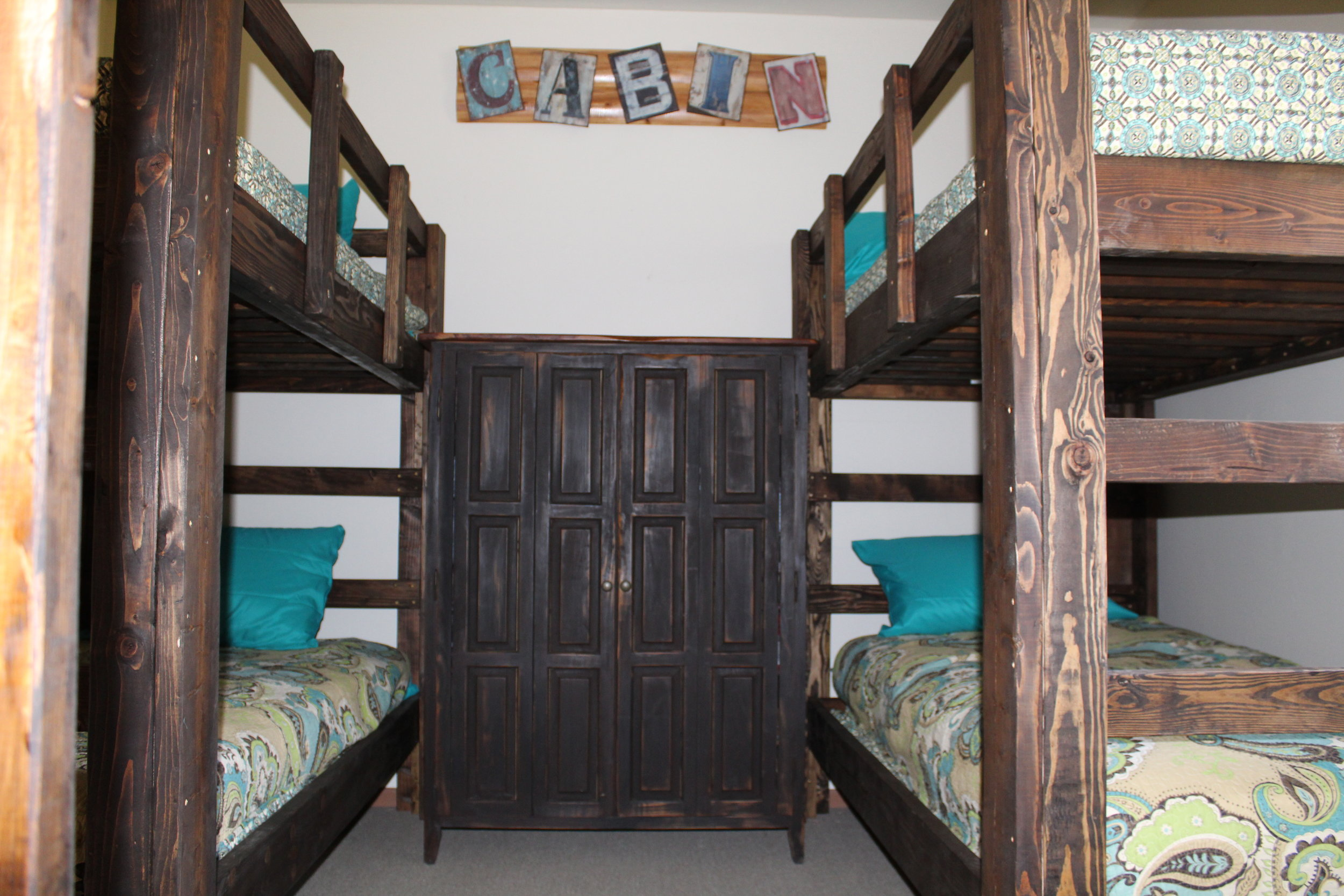 Bunkhouse bedroom with three bunkbeds