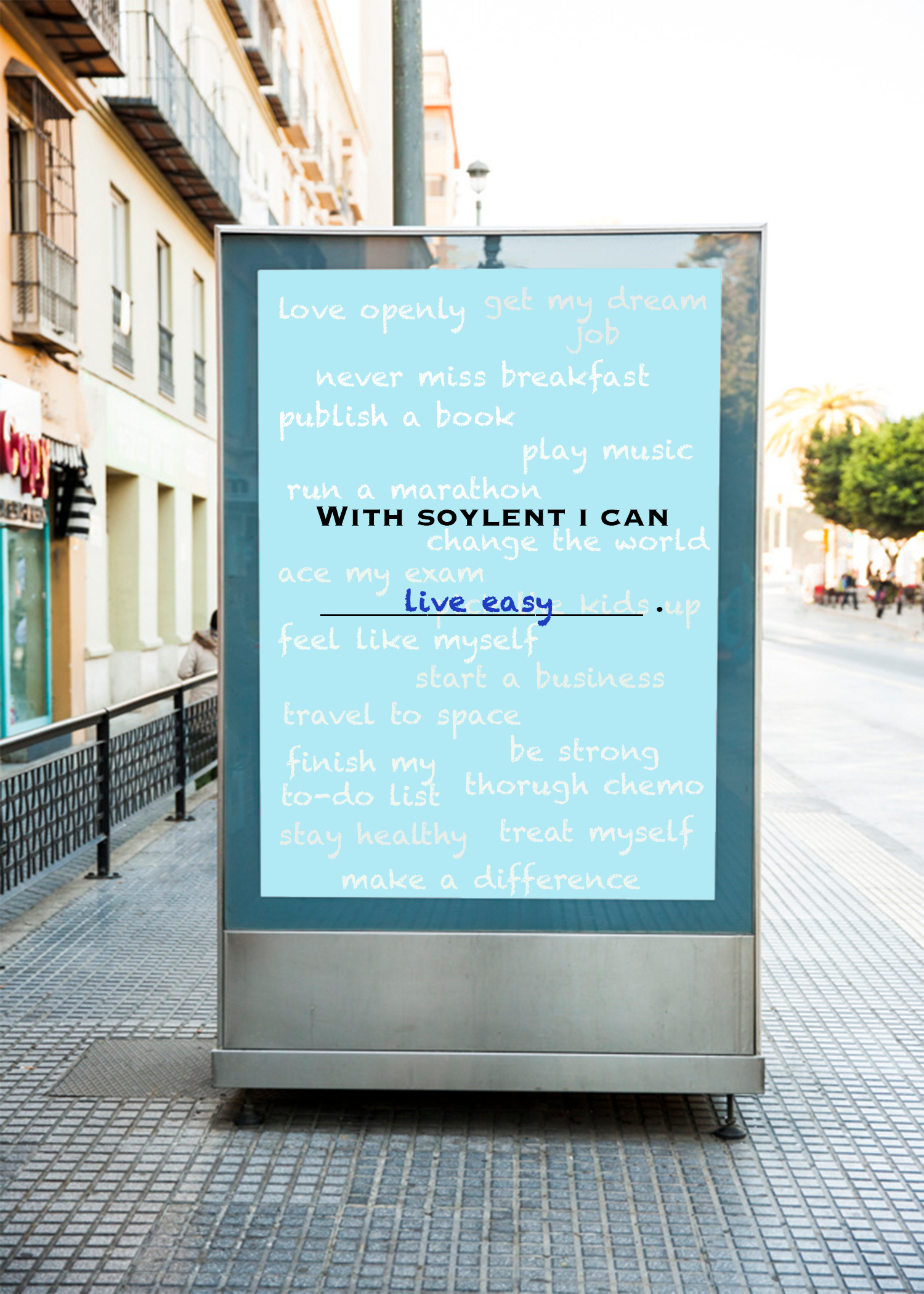 Screen two. As new people write, the old words will float in the background, sparking curiosity and inspiration for other pedestrians. It is a quick and interactive way to engage new consumers to see what they can do with soylent.