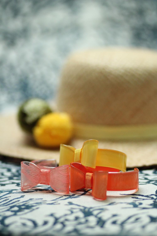 Braceletes noeud jaune orange été dentelle chapeau paille