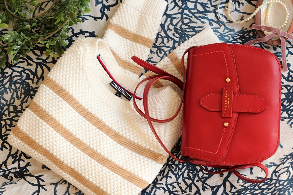 Pull Tommy Hilfinger rayé coton sac cuir rouge italien The Bridge