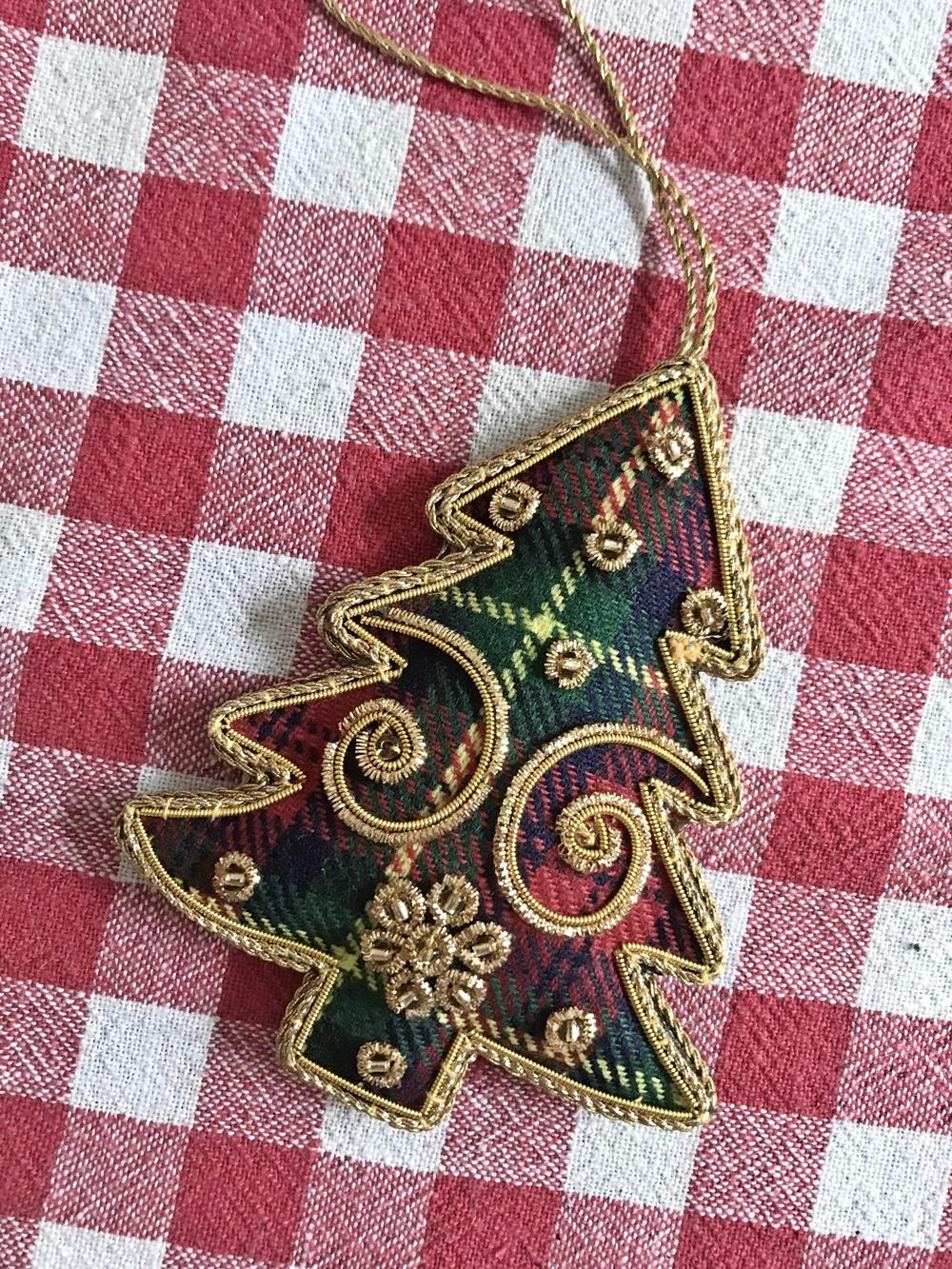 Decoration de Noel ecosse tartan sapin