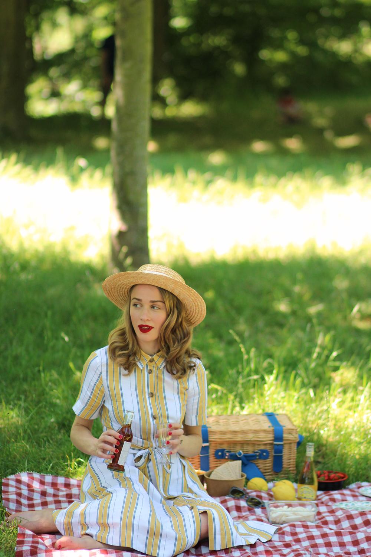 Fille assise herbe picnic pique-nique