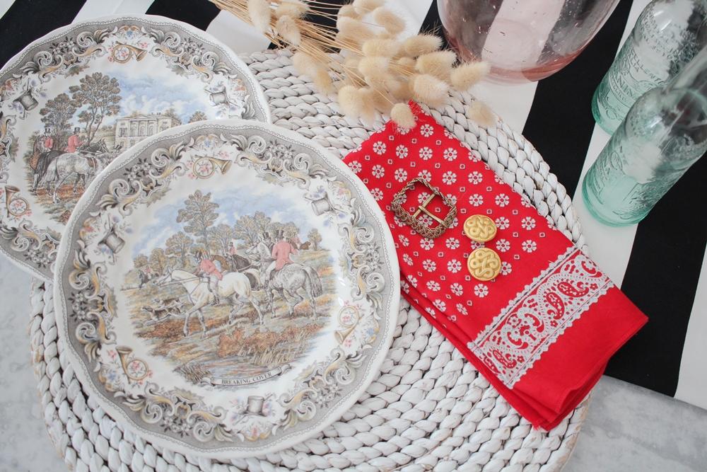 Achat souvenirs décoration maison home assiettes vintage Churchill chasse