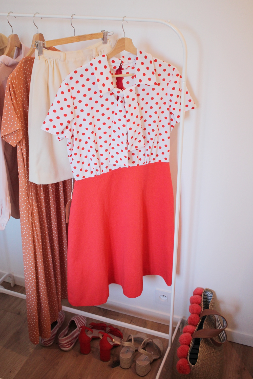 Robe vintage pois orange