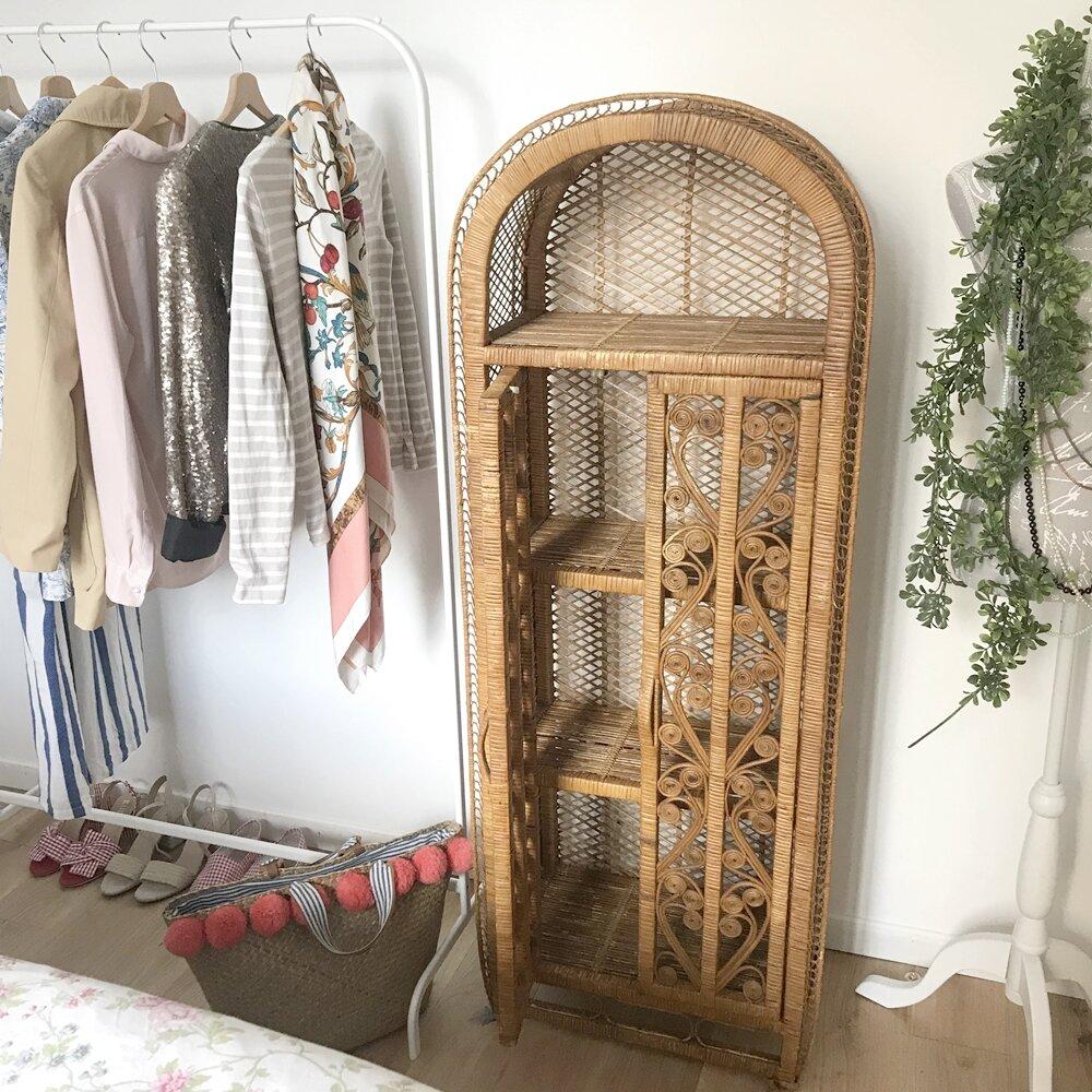 etagere rotin meuble 70 soixante dix vintage boho rattan shelf