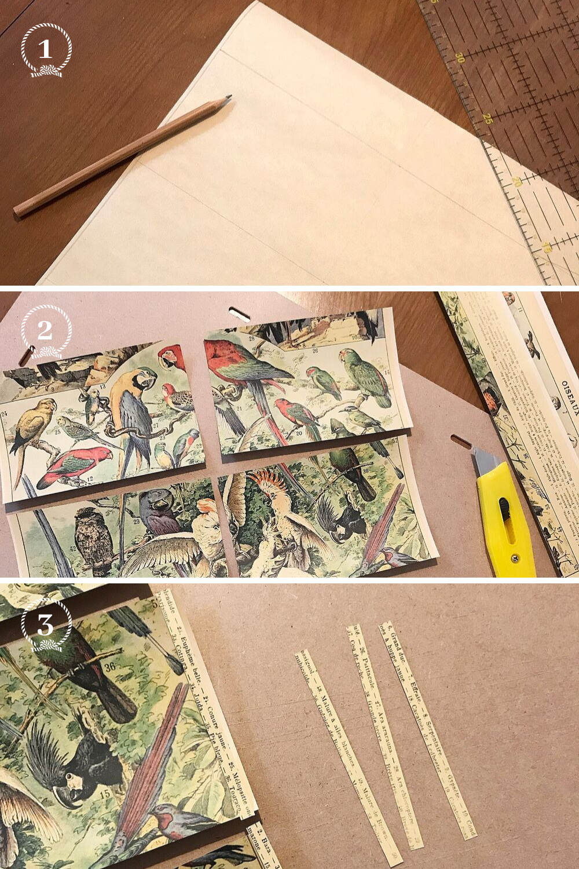 - 1 et 2 - Tracez les dimensions des 6 tiroirs sur votre papier et découpez-les3 - J'ai découpé des morceaux de la légende pour couvrir le bord