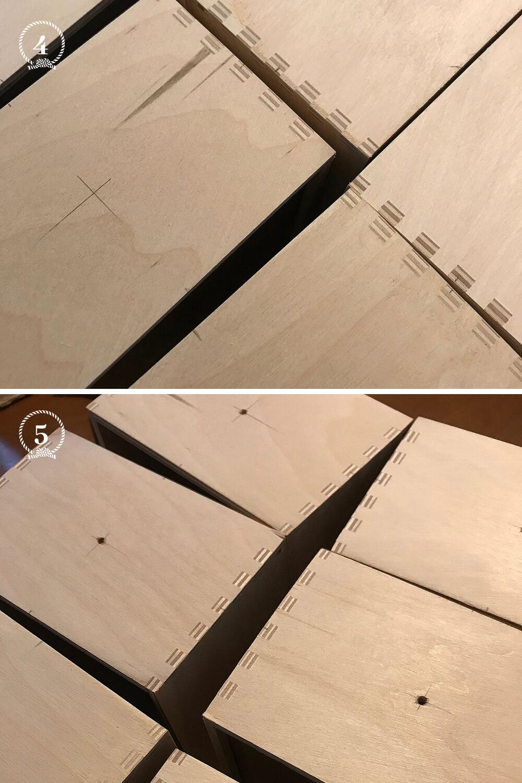 - 4 et 5 - Tracez le centre de chaque tiroir que vous aurez retourné et faites un trou de 20mm de diamètre
