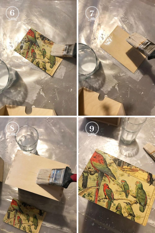 - 6 - Diluez une part de colle à bois avec une part d'eau. Avec ce mélange imbibez l'avant de votre papier7 - Imbibez l'arrière du papier8 - Enfin mettez-en sur le tiroir: plus c'est mouillé plus il sera facile de le positionner en le glissant sur la surface9 - Alignez les bords, ajoutez les autres morceaux si nécessaire