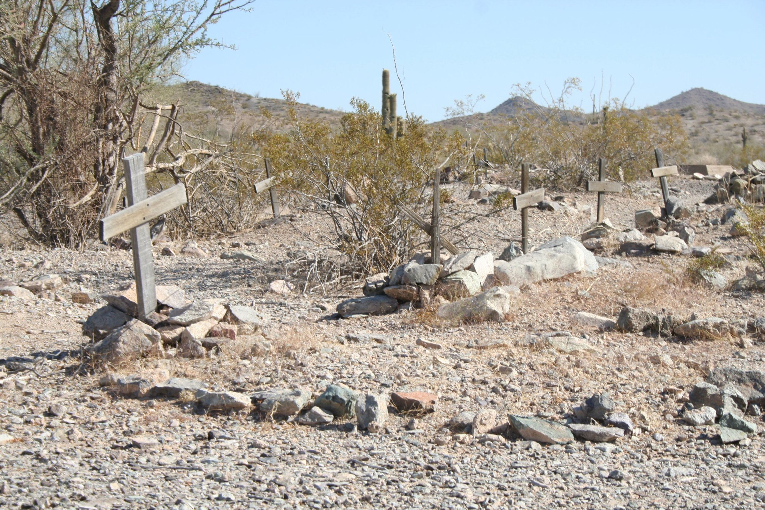 Graves at the Harquahala Cemetery north of the townsite on the main road