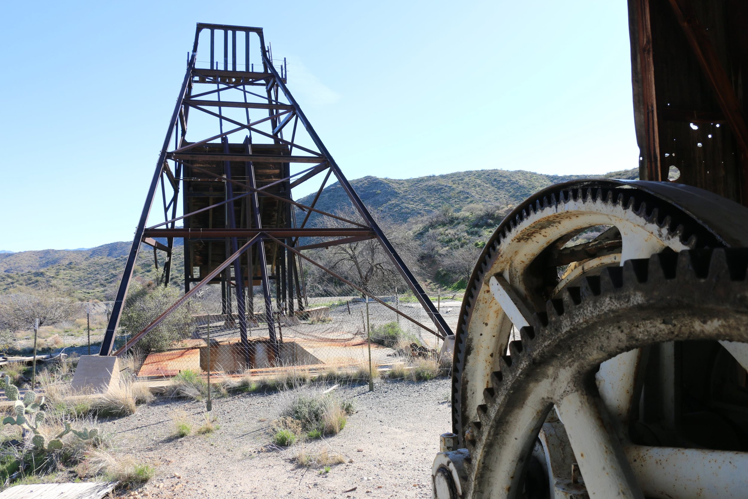 The headframe as viewed from the winch house.