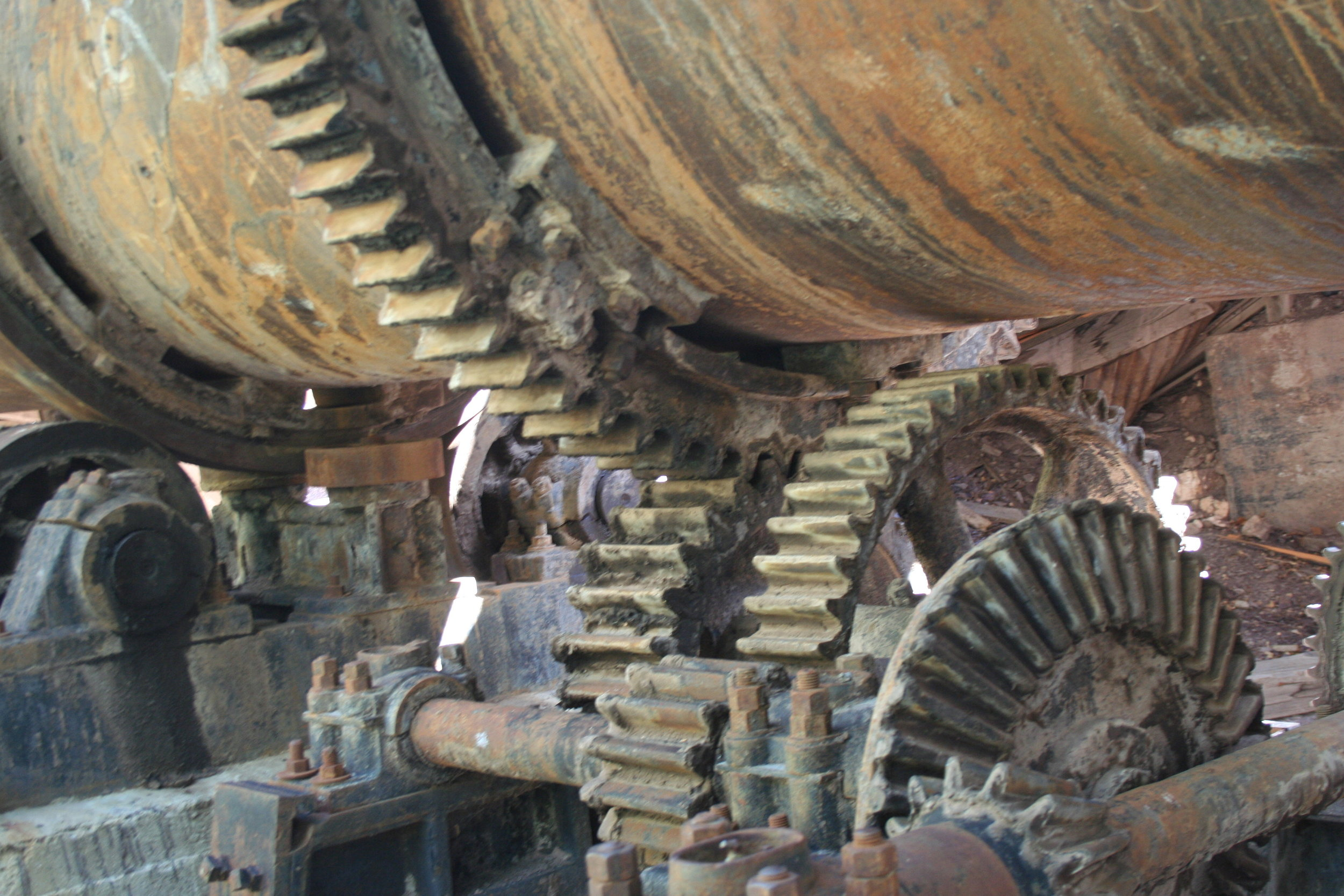 Some of the gears used to turn the tumbler at Sunflower mine