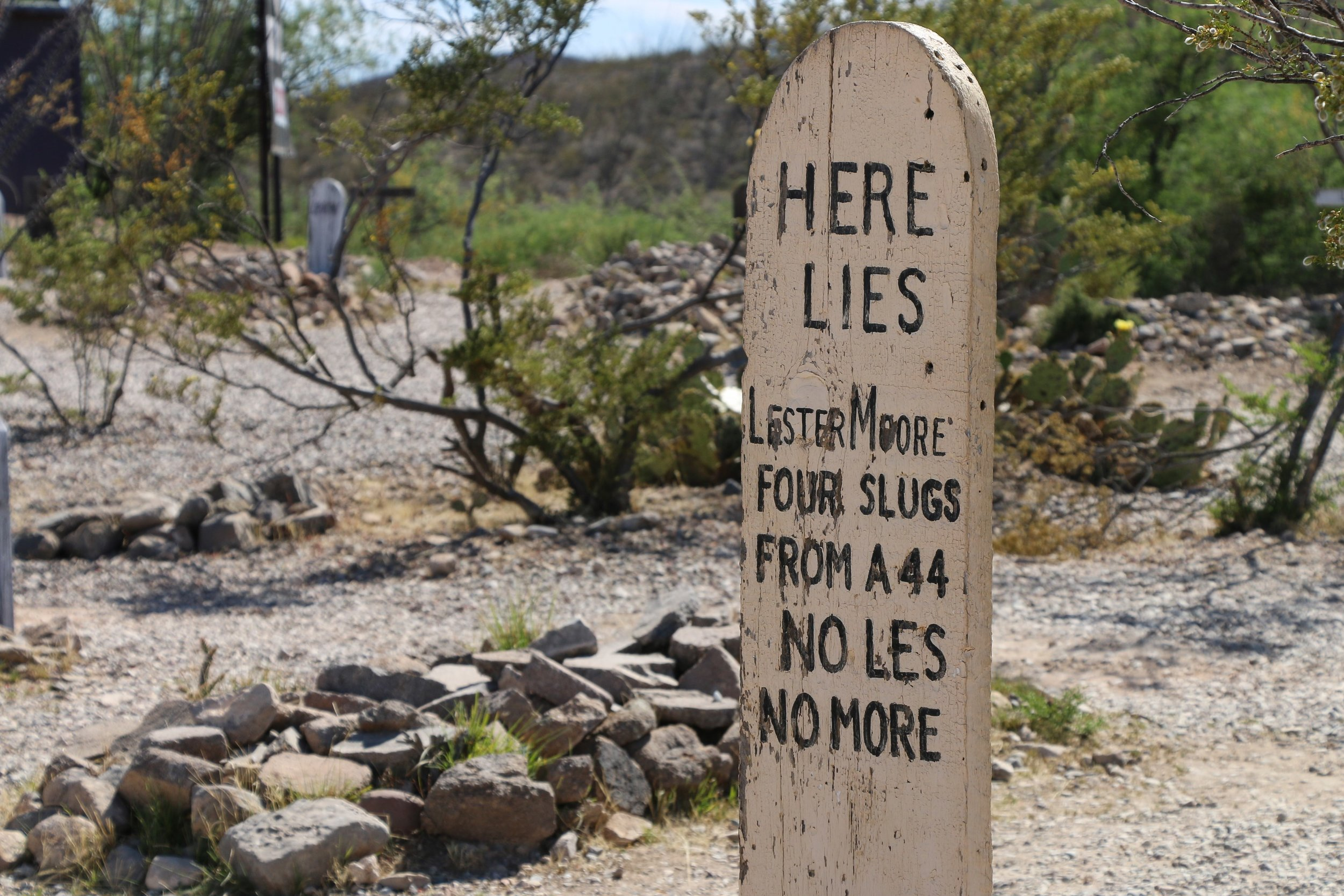 One of the many iconic tombstones in Boothill Graveyard.