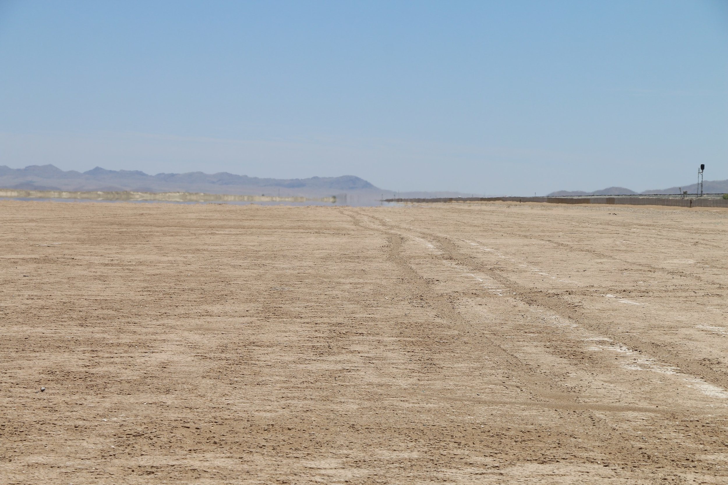 Looking east across the dry lake bed.