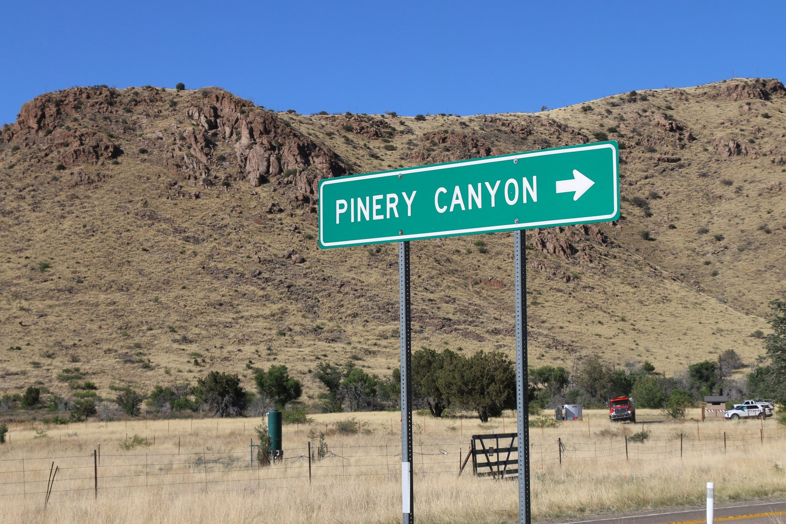 Turning off the last paved section of the trip as we head into Pinery Canyon near Chiricahua NM.