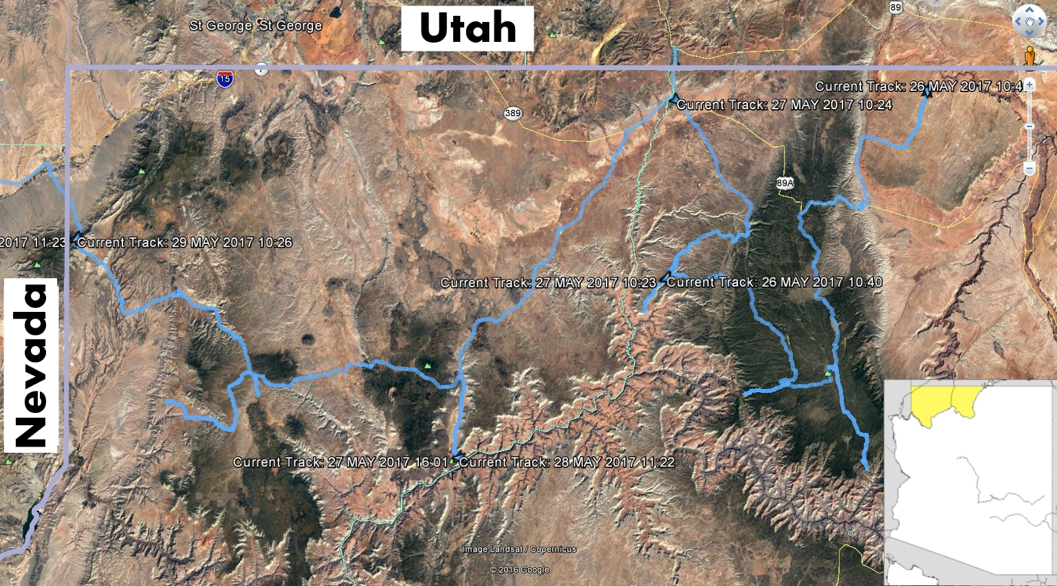 Our track from the Arizona Strip Trip (click to enlarge photos)