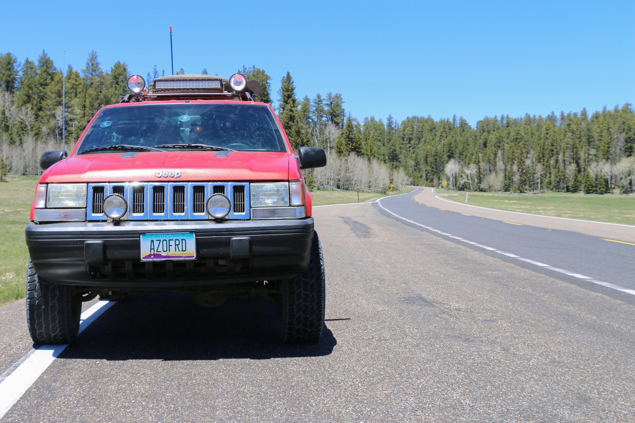 Heading south at 9,000' along Highway 67.