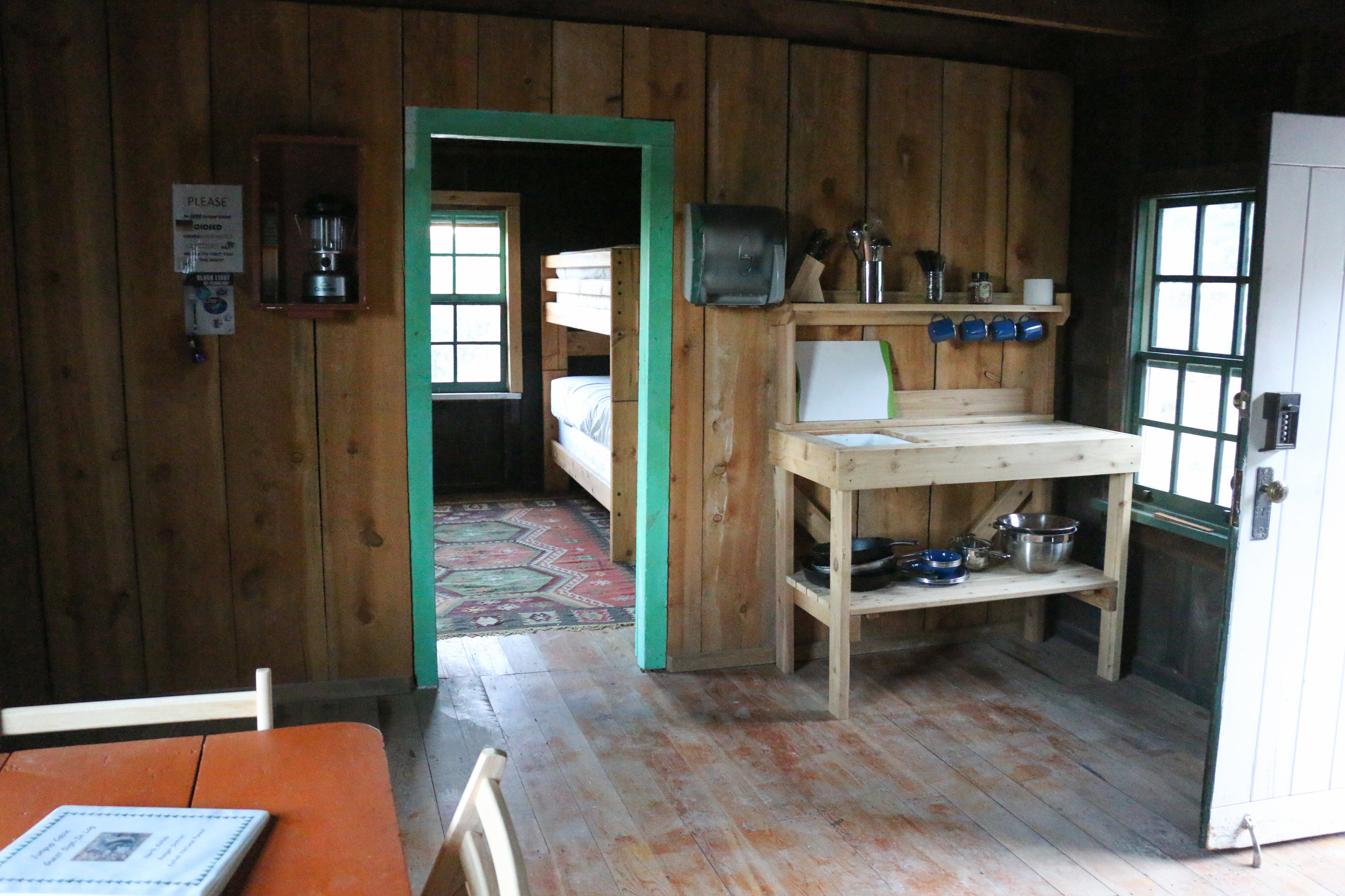 Inside our accommodations for the night: Jumpup Cabin.