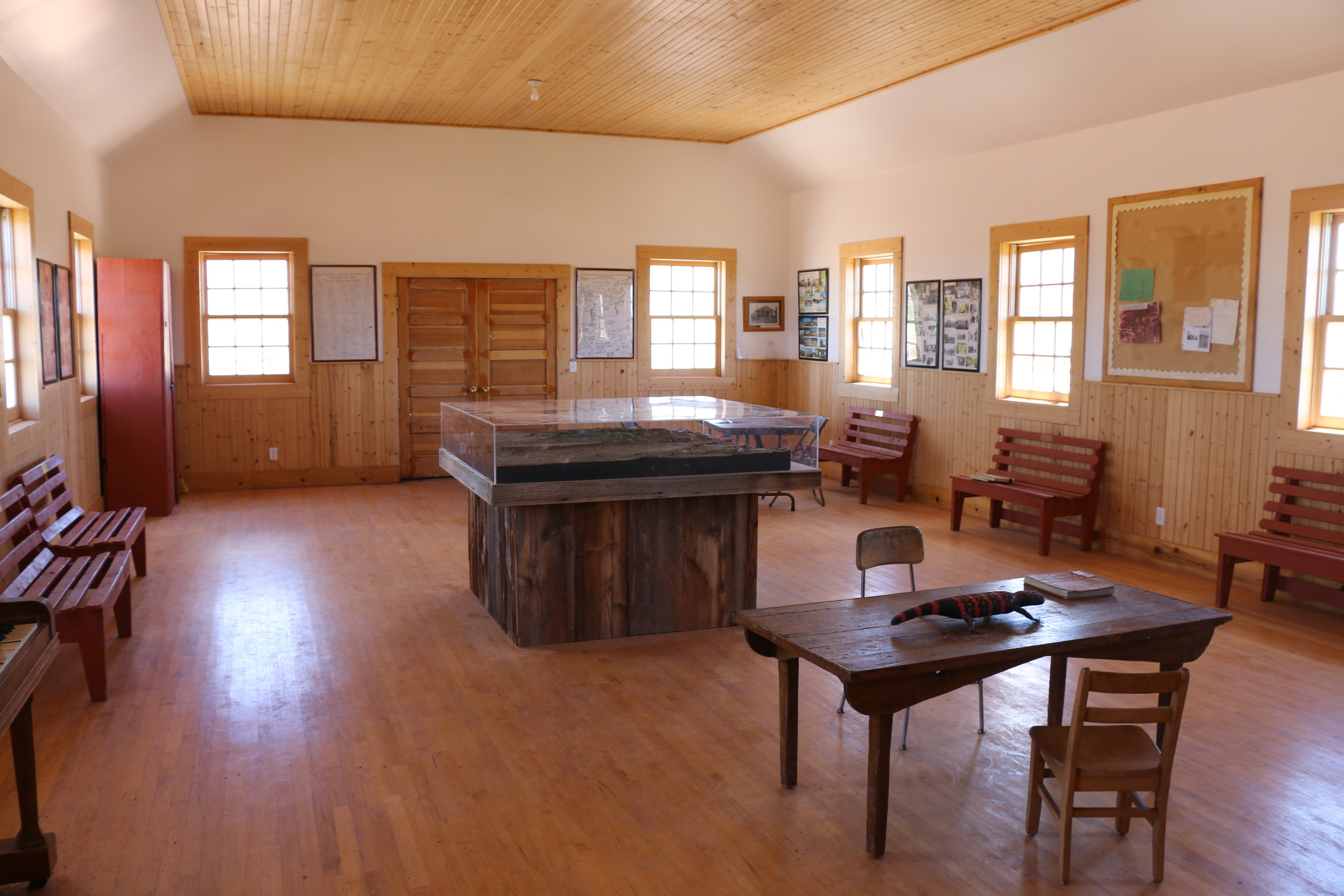 Inside the beautifully restored schoolhouse.