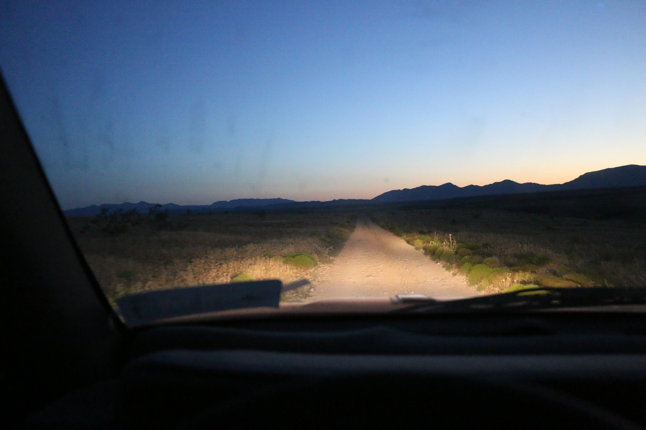 Driving into the night on (not) smooth BLM roads.