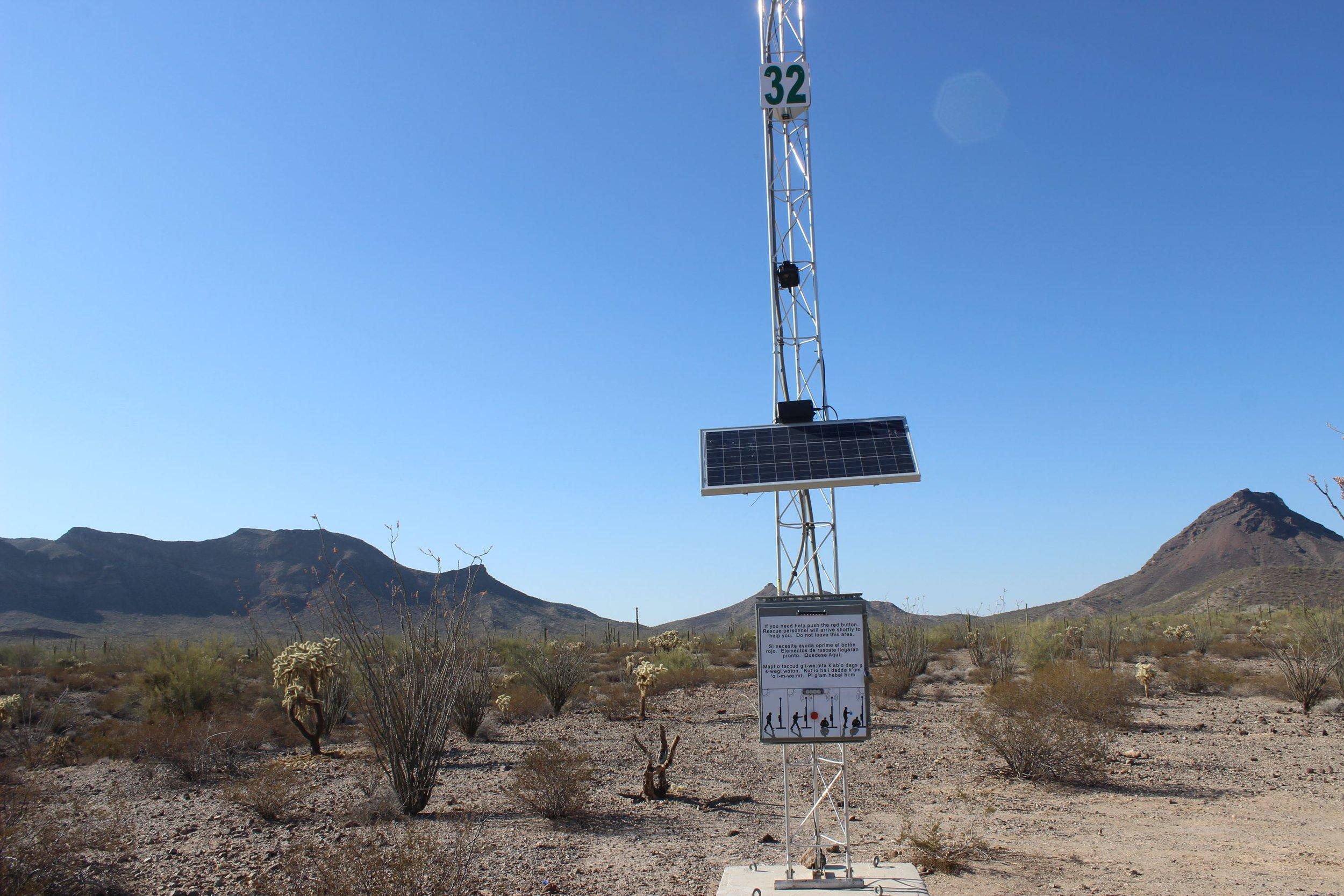 An emergency beacon along El Camino Del Diablo.