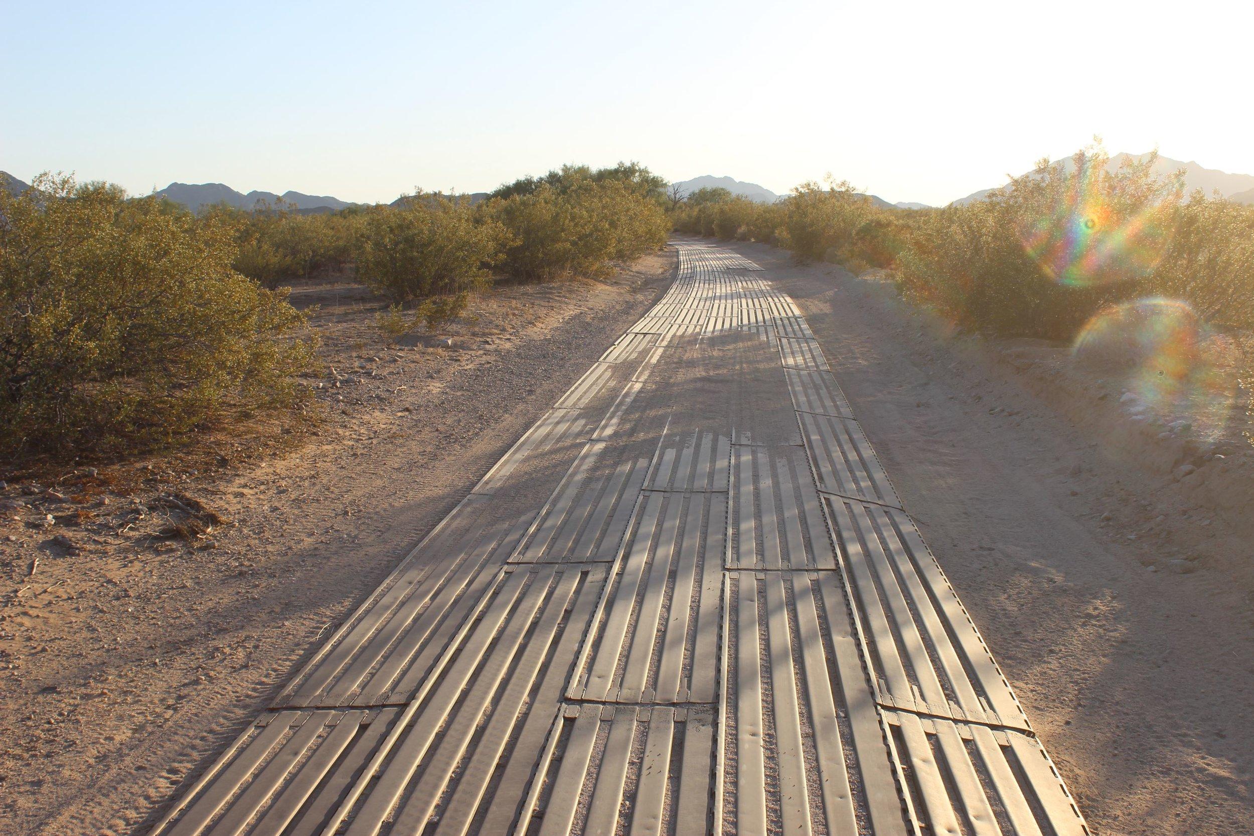 Steel planks line El Camino in the Growler Valley.
