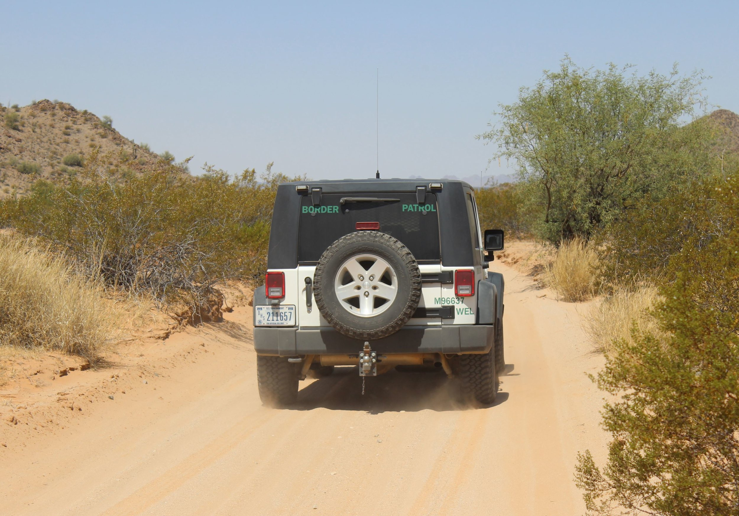 Border Patrol Jeep along El Camino.