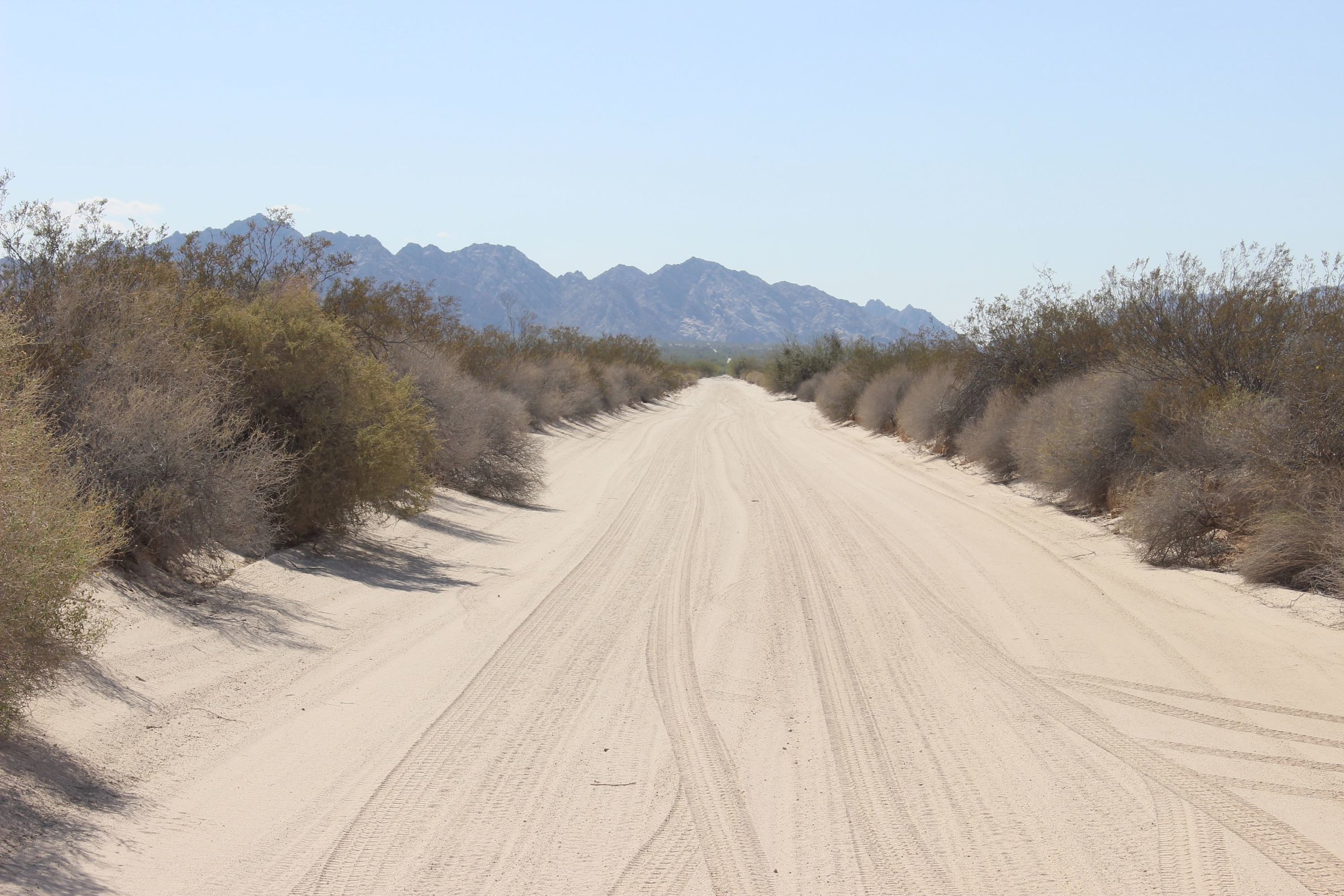 A smooth El Camino heads west into Barry M. Goldwater Air Force Range.