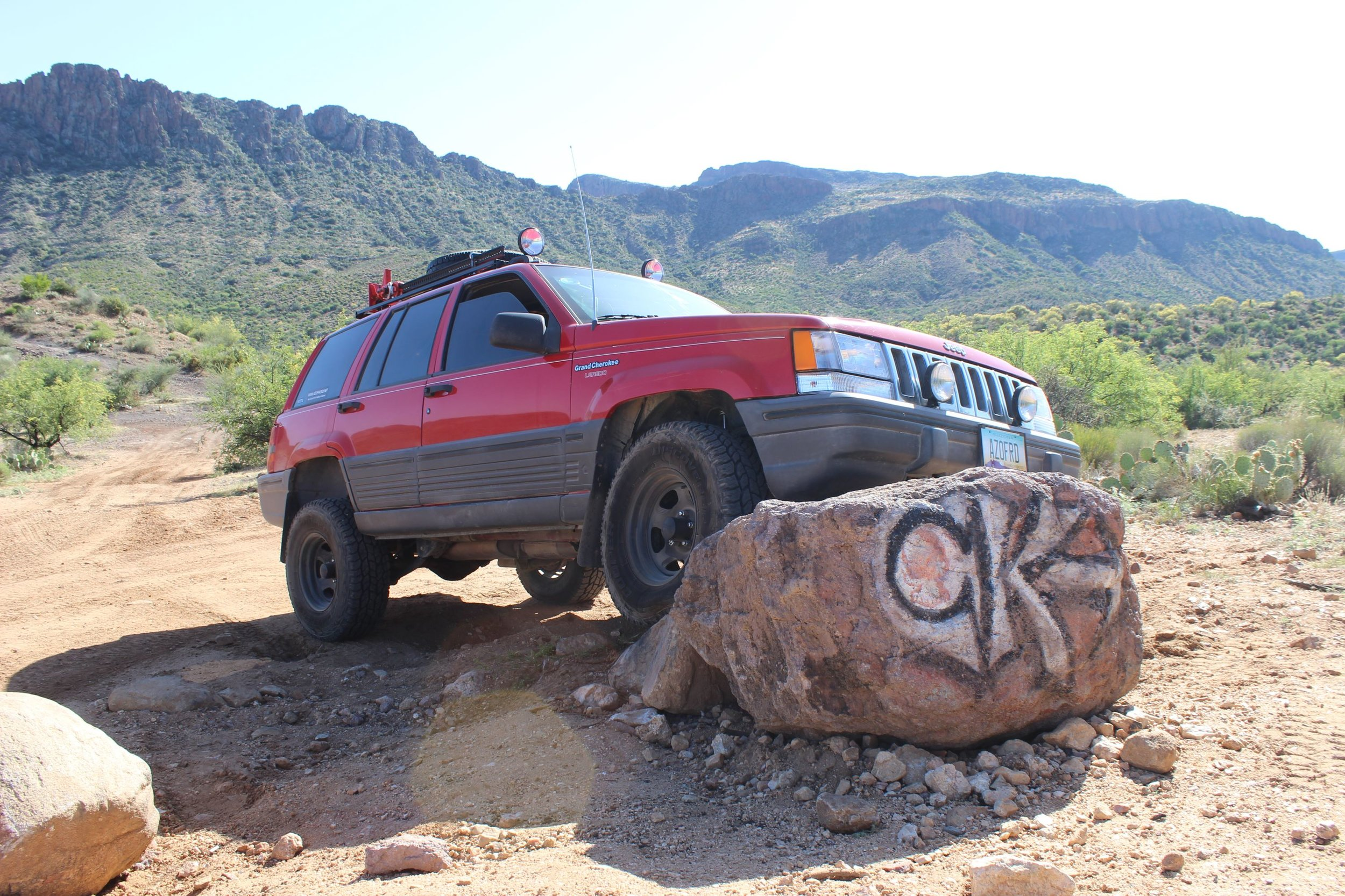 Stopping for a break at CK rock along the Backway to Crown King
