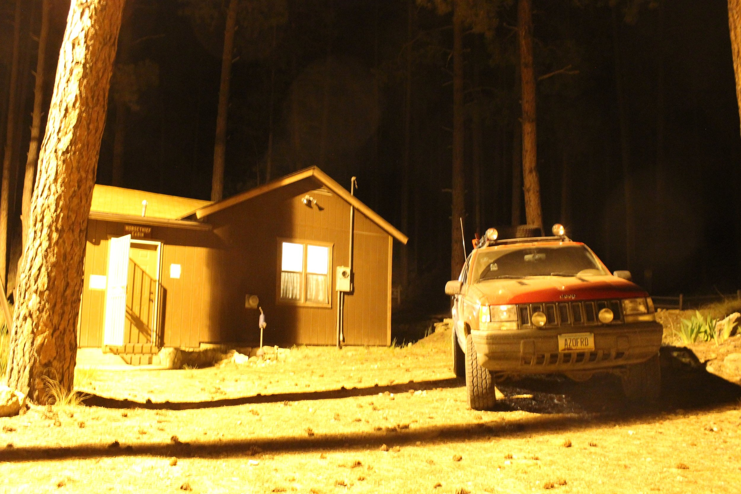 Horsethief Cabin at night