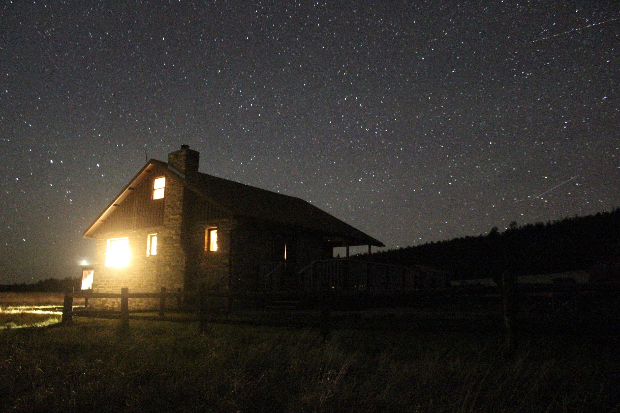 Kendrick Cabin at night
