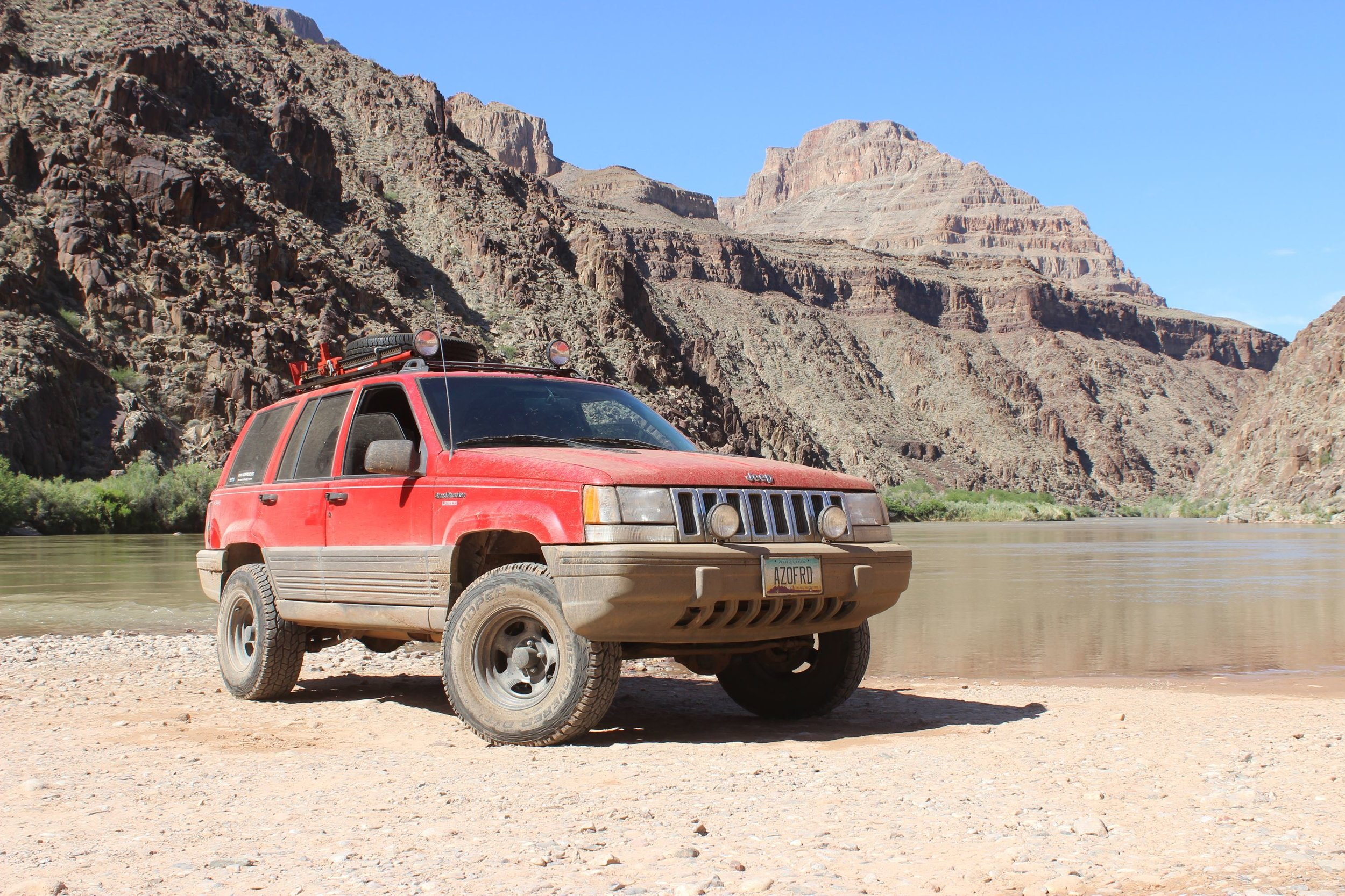 At the Colorado River at the bottom of the Grand Canyon