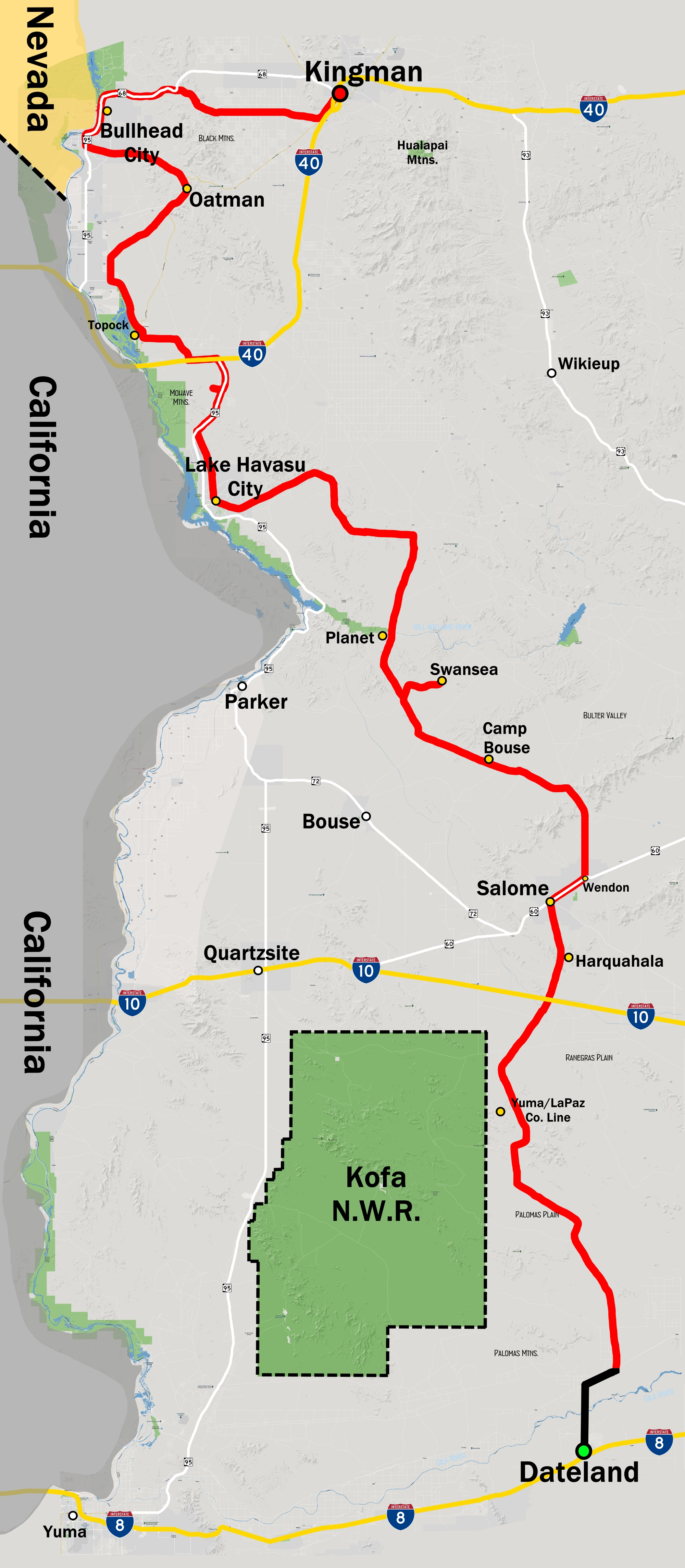 An overview of the south part of our route. (Click to enlarge photos)