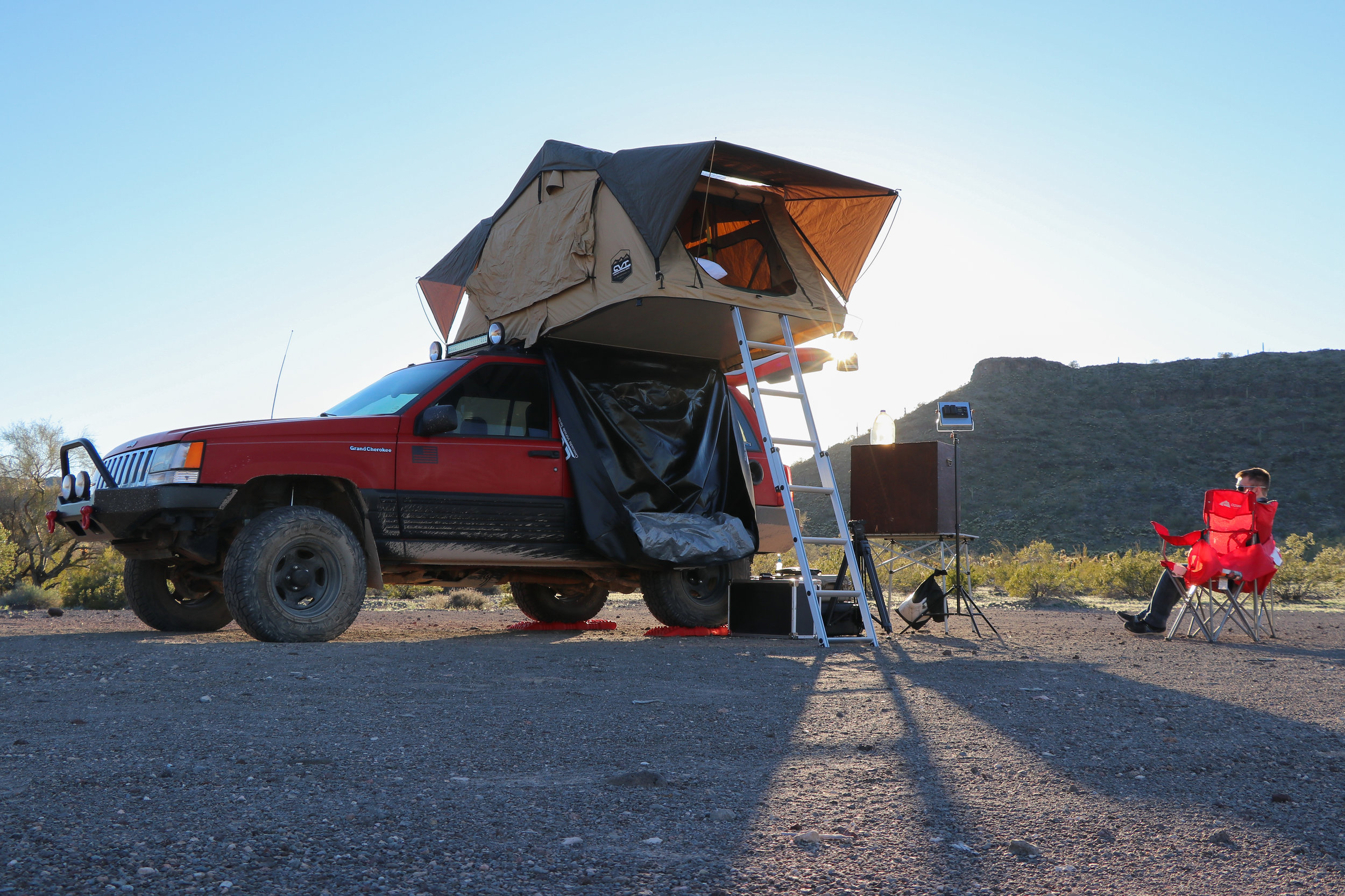 Our first night's camp set up in the Little Horn Mts, just north of the Yuma/La Paz County line.