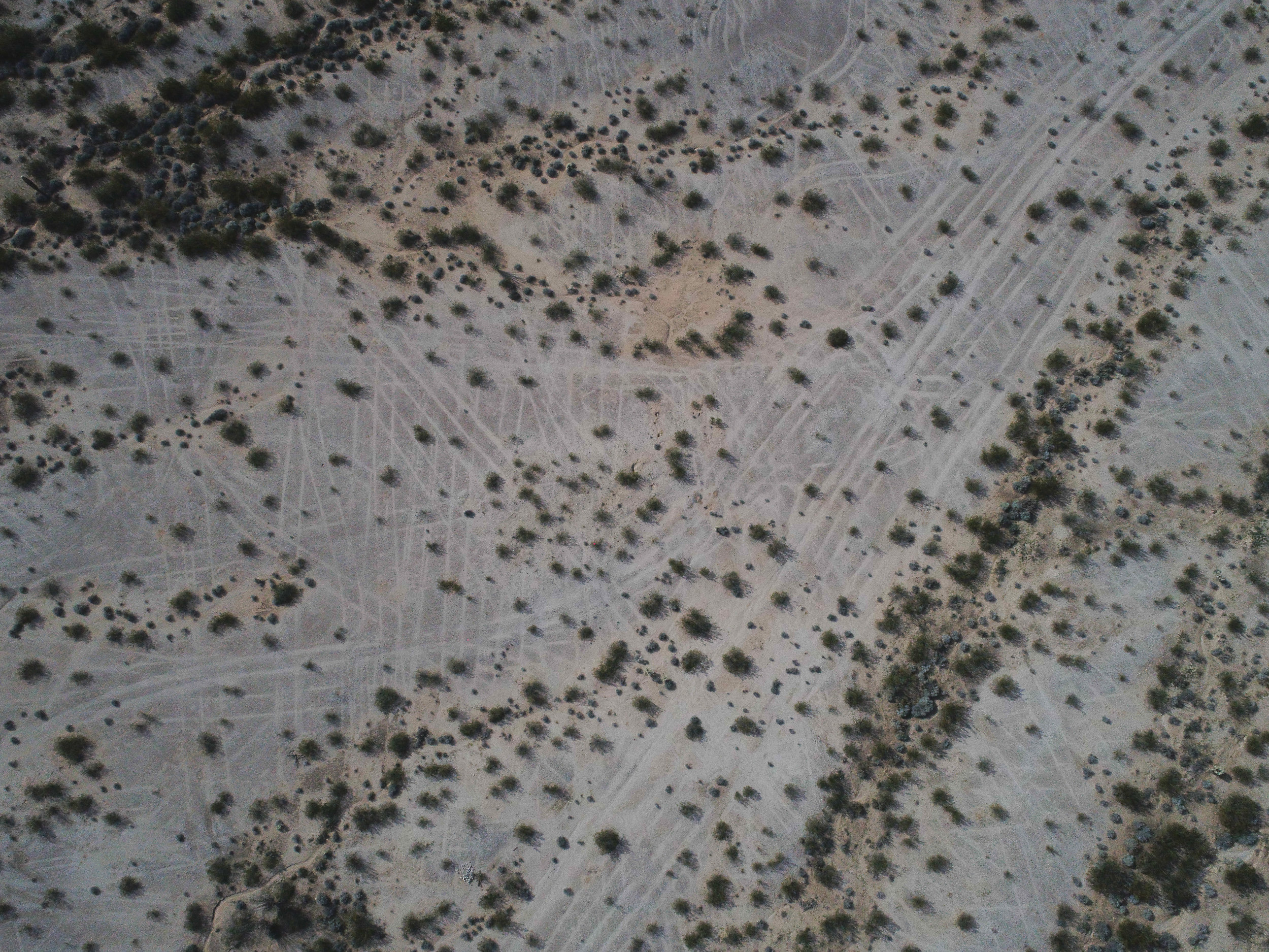 Tank tracks remain on the desert floor outside of camp, as seen from the air.