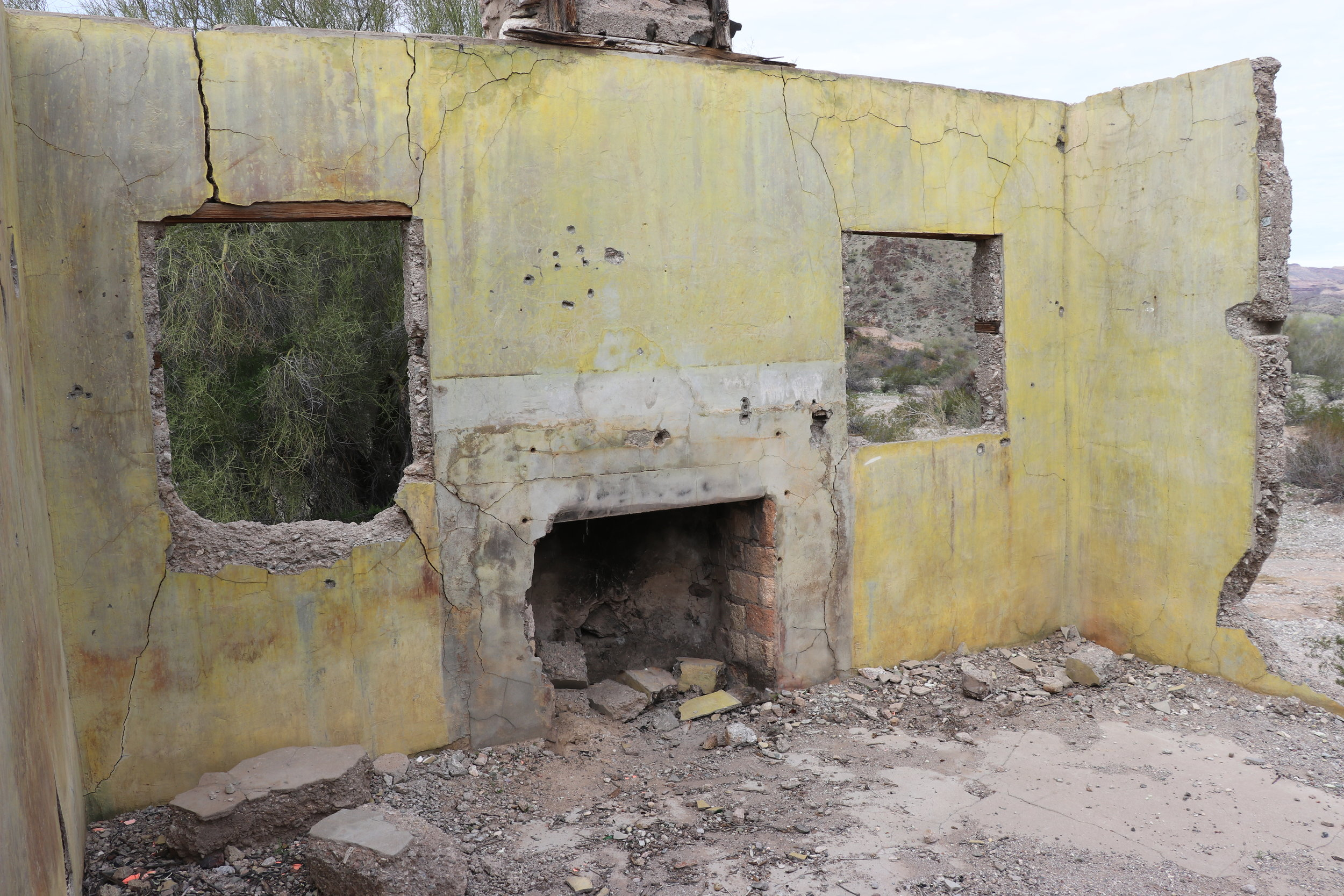 The most intact building on site had a fireplace at one point.