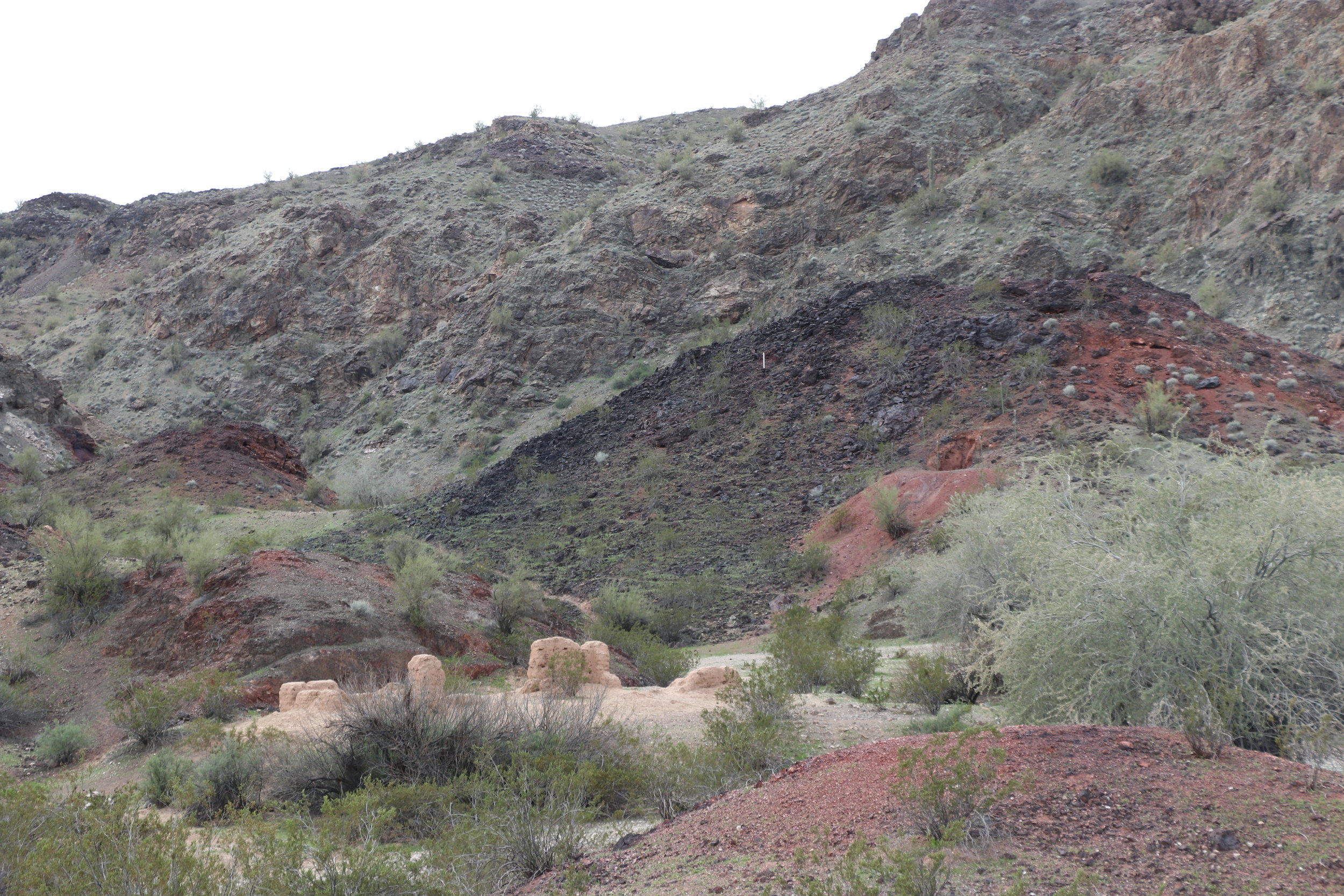Ruins remained scattered through scenic canyon.