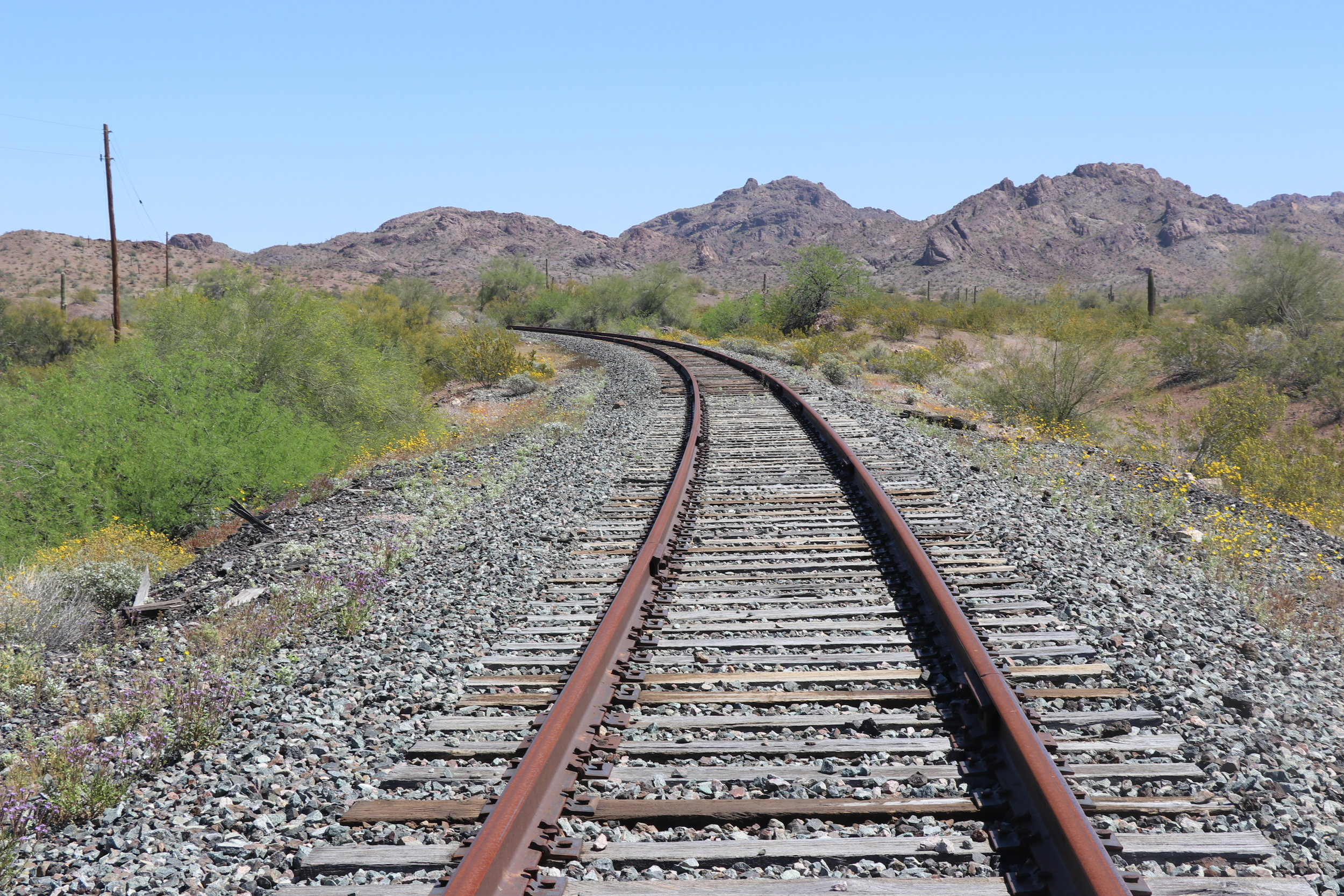 The train approached from this curve to the east.