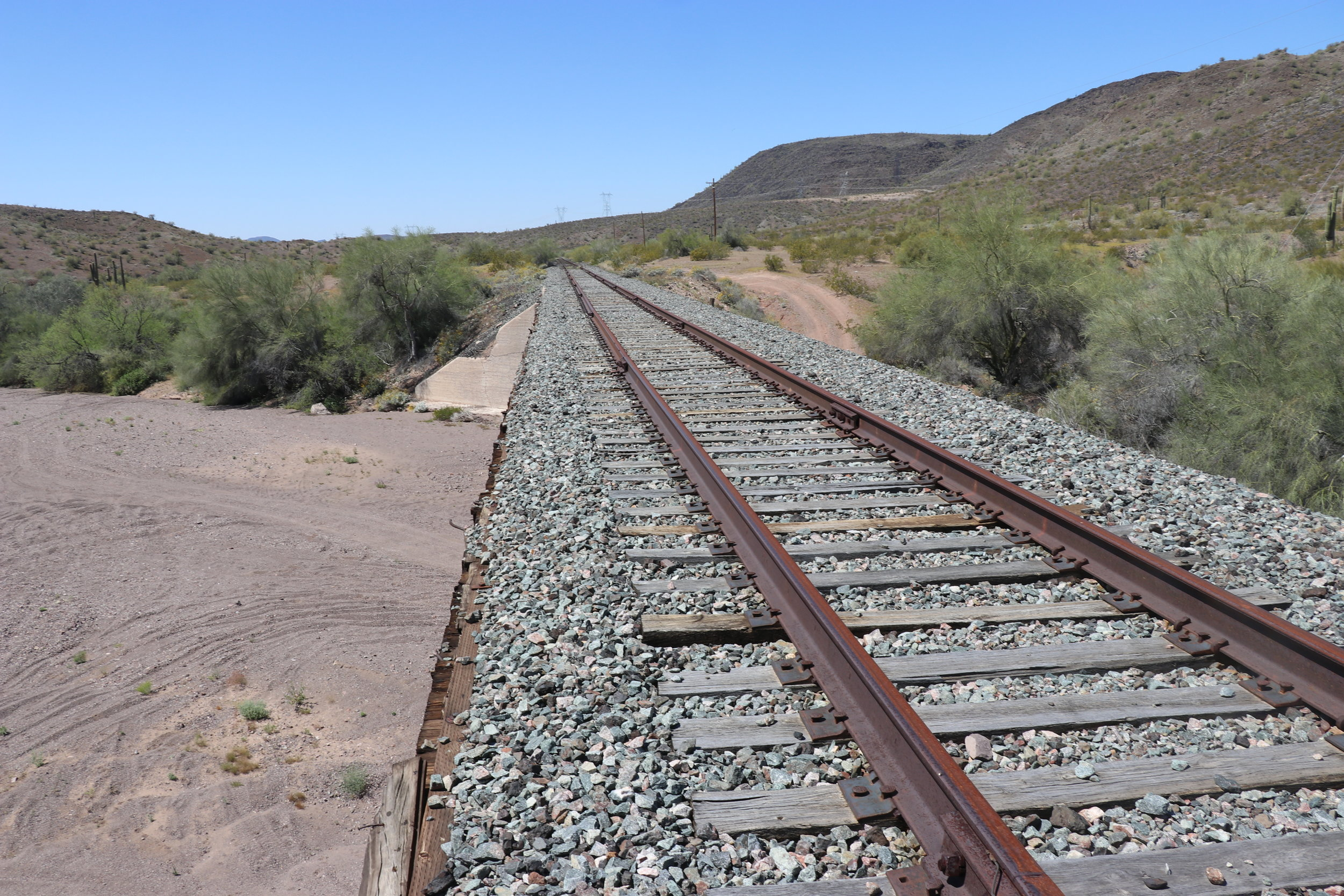 The train derailed off to the left side of the bridge over Quail Springs Wash.