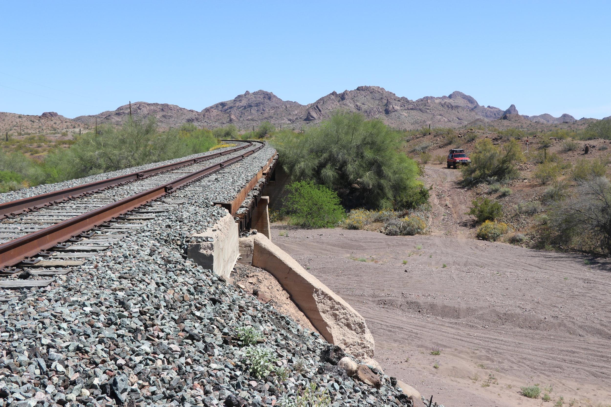 Looking east at railroad bridge.