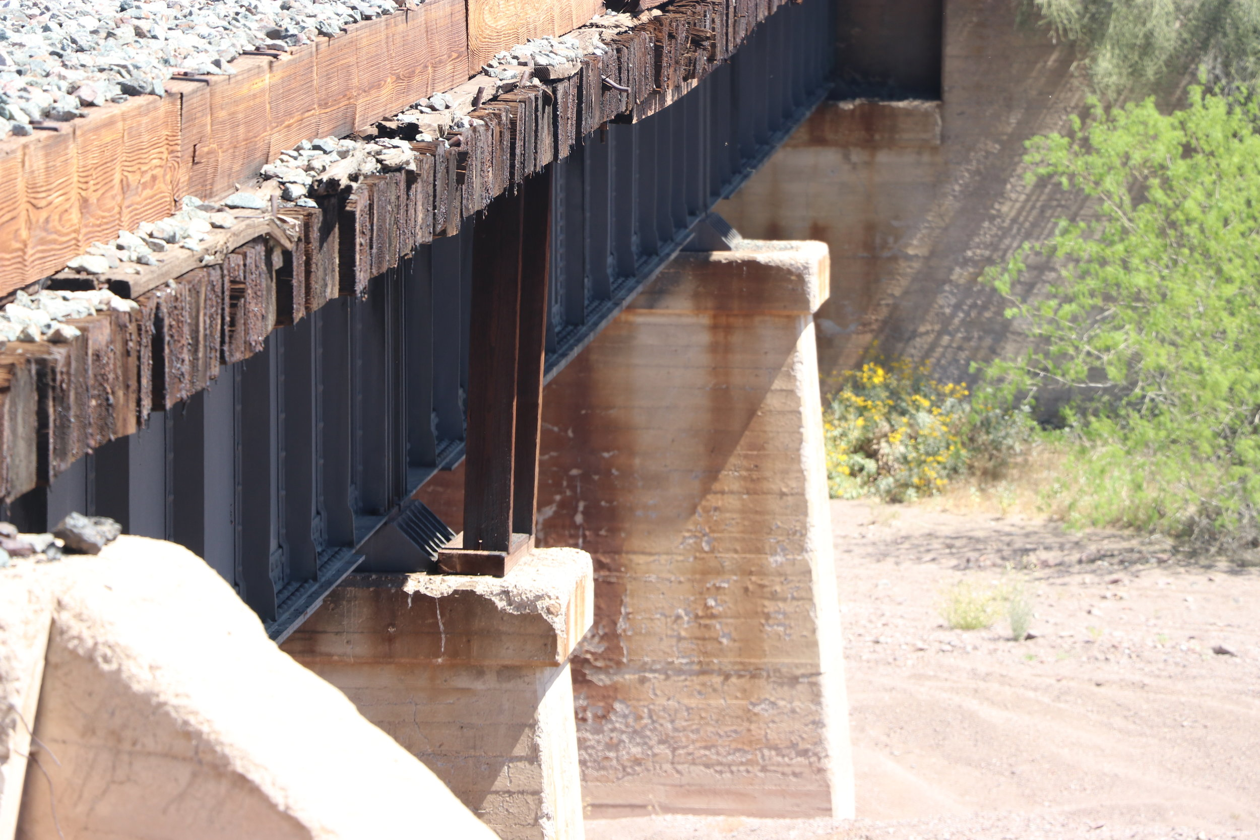 Braces remain under the railroad bridge from repair work done following the crash.