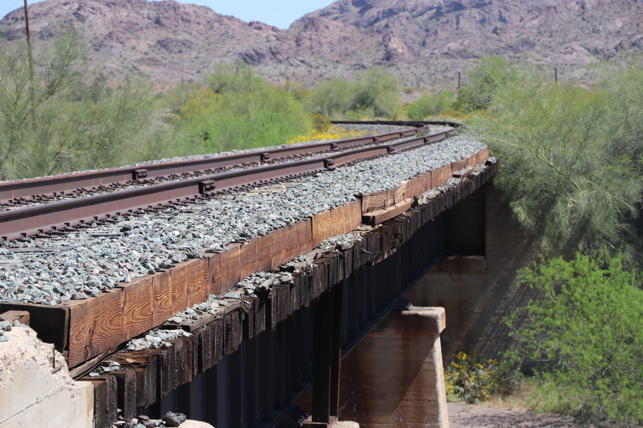 Railroad bridge over Quail Springs Wash.