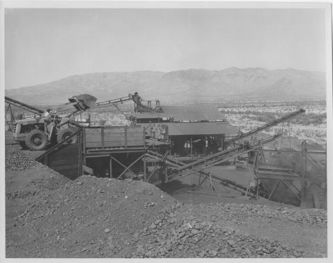 Equipment operating at the mill site sometime in the 1950s or 60s. 2011-03-0830, ADMMR Photo Archive, Arizona Geological Survey.
