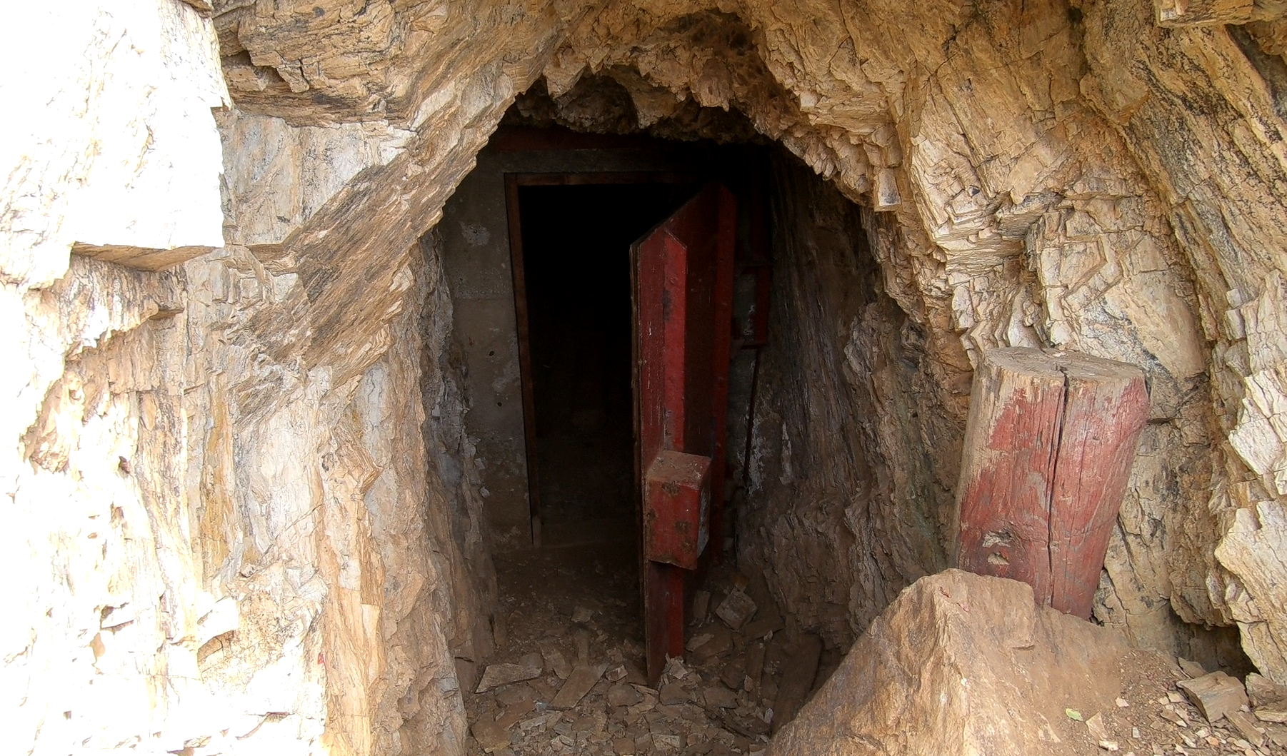 An explosives locker built into the hillside east of the Blue Bell.
