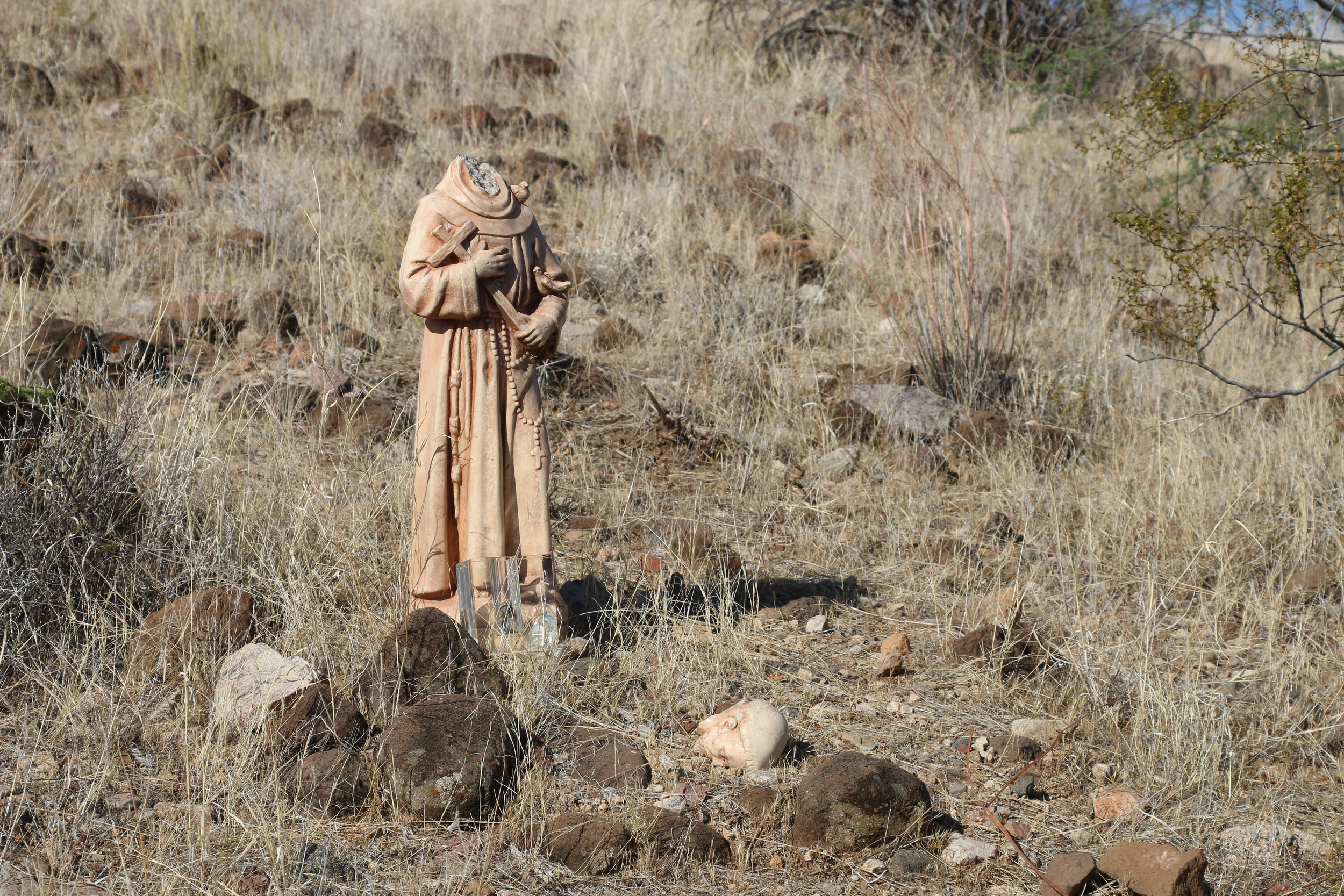 More modern religious artifacts remain, but have seen the effects of the weather.