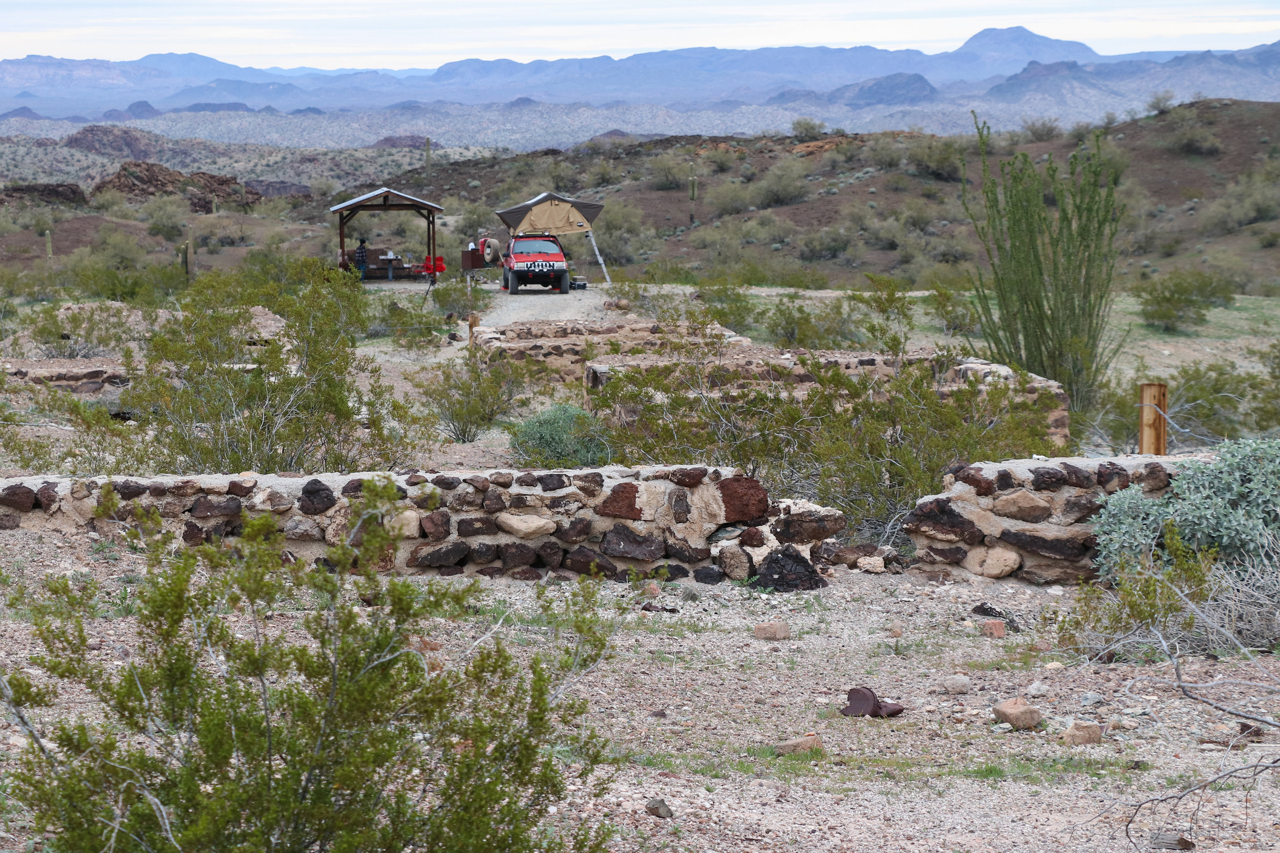 The ruins of Swansea overlook our camp.