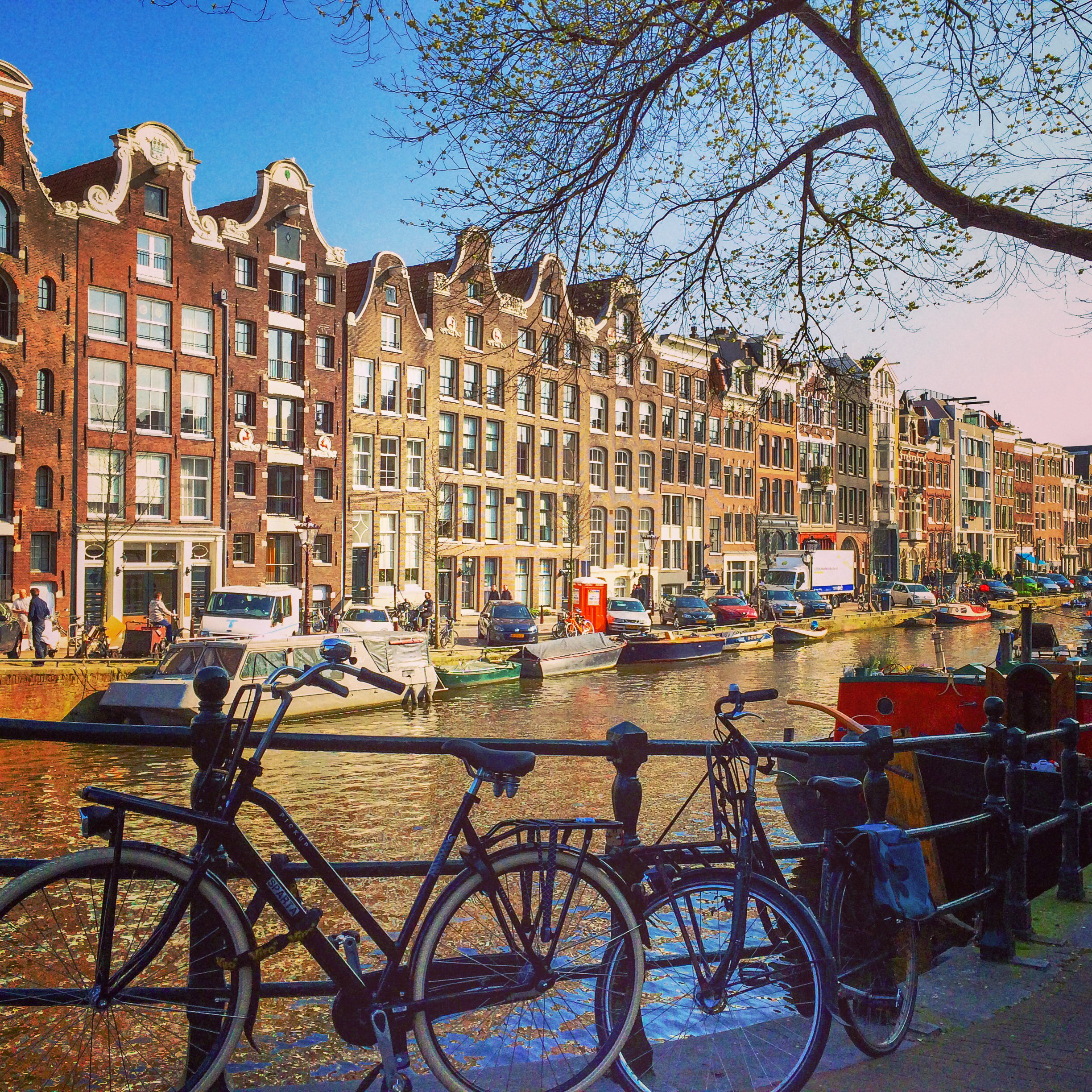 Amsterdam canals with bikes