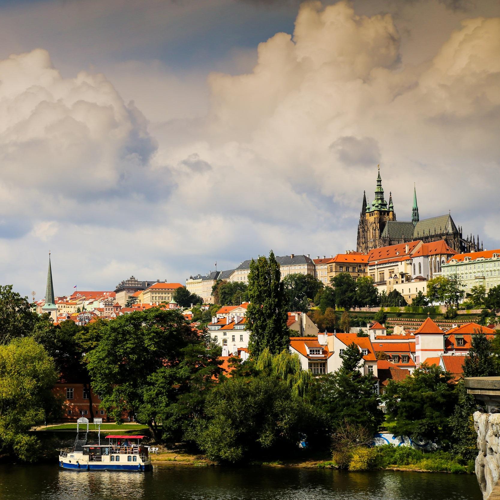 Prague castle and river view