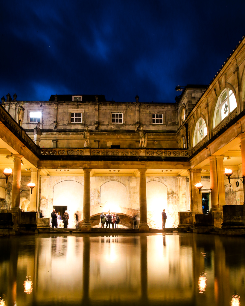 Roman baths at dusk Bath