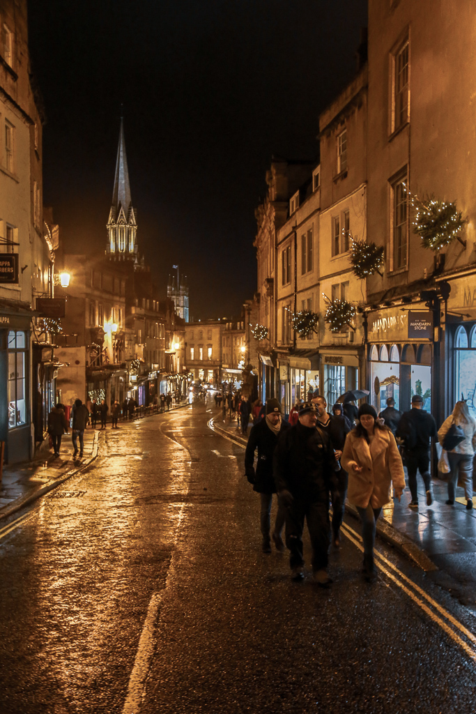 wet streets of Bath at night